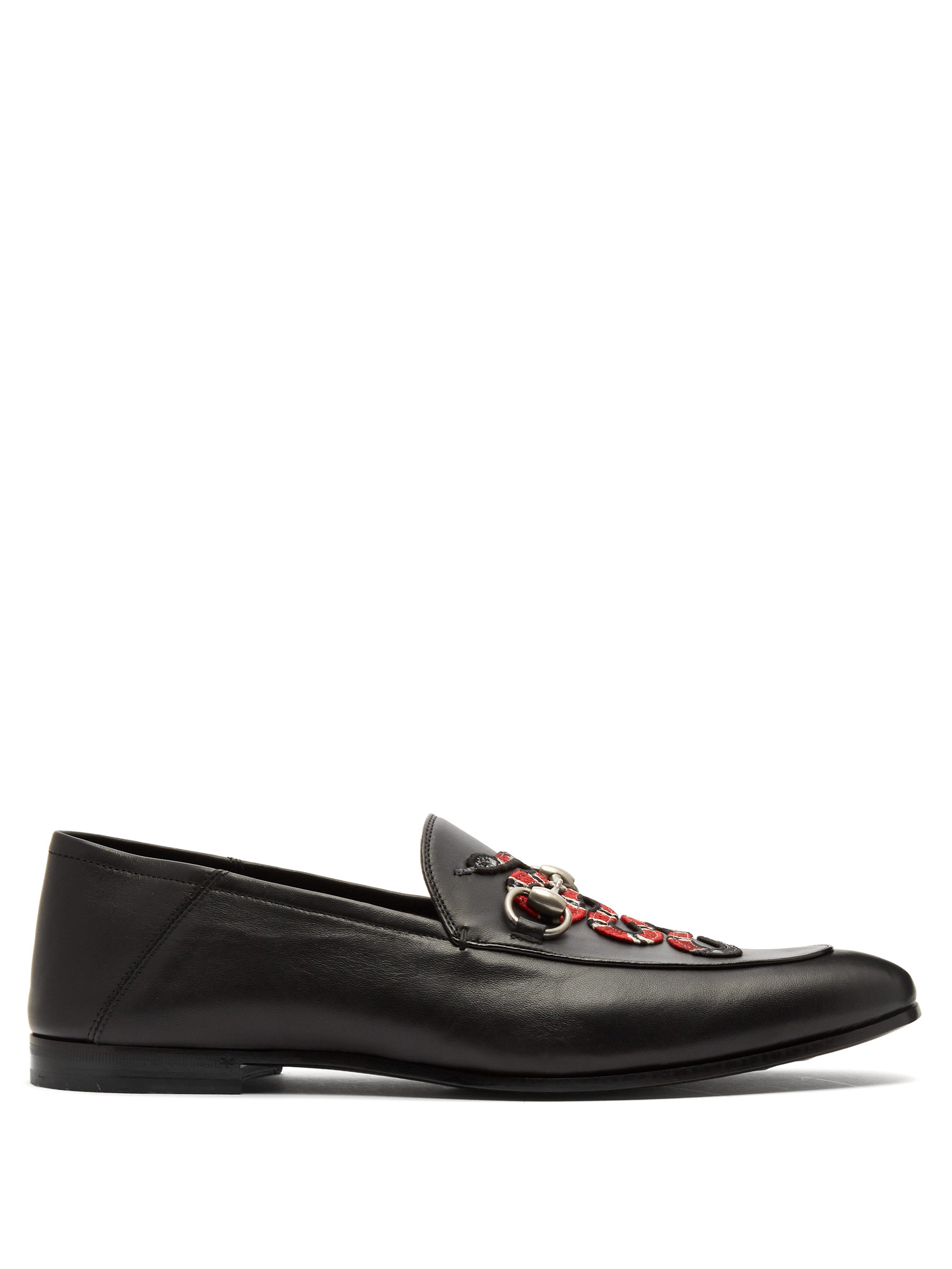 60611682011 Gucci Brixton Kingsnake Embroidered Leather Loafers in Black for Men ...