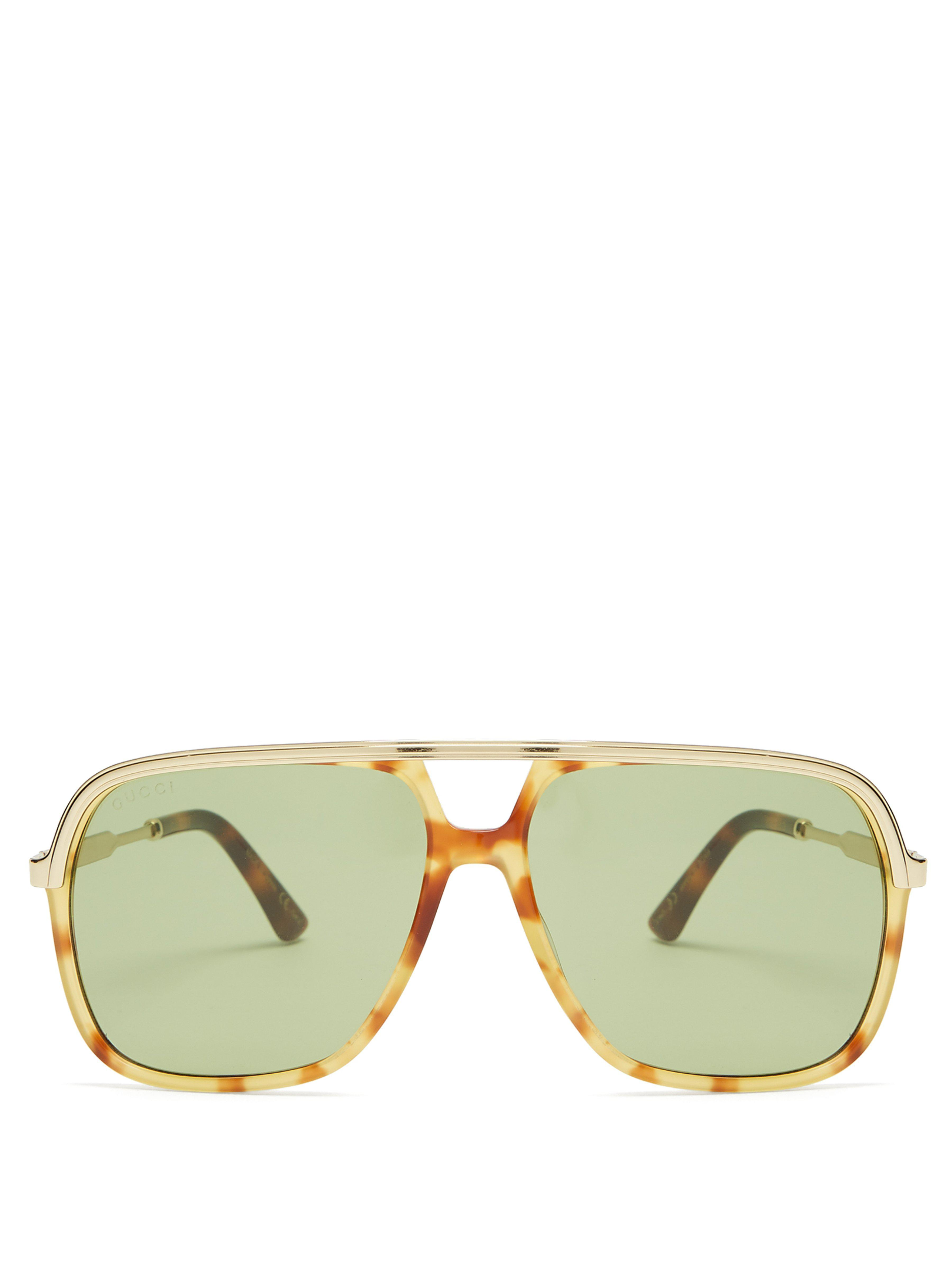 6de98479b41 Gucci Squared Aviator Acetate Sunglasses for Men - Lyst