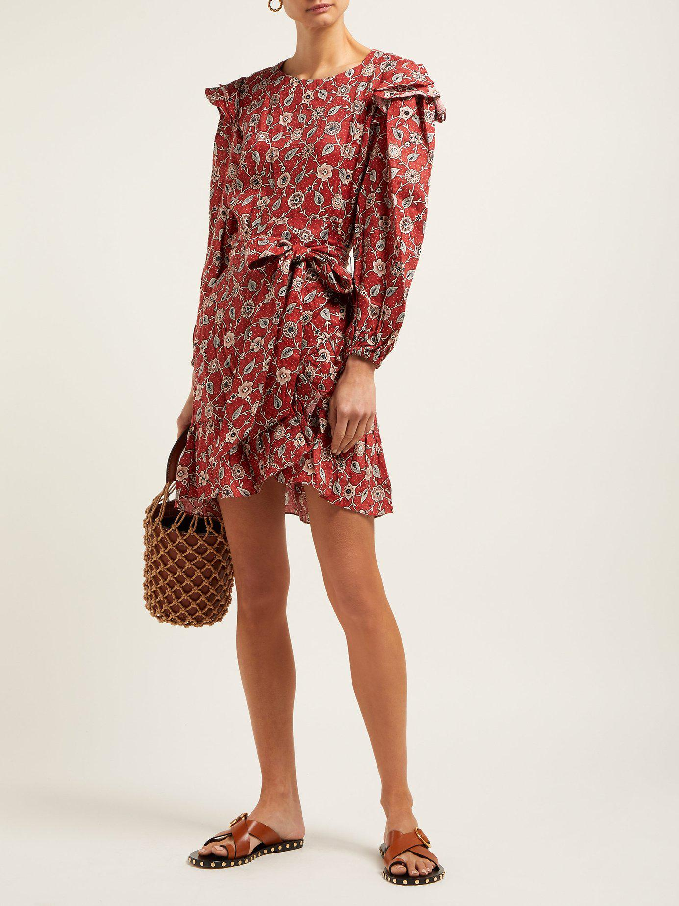 aa667259f1 Lyst - Étoile Isabel Marant Telicia Floral Print Linen Mini Dress in Red