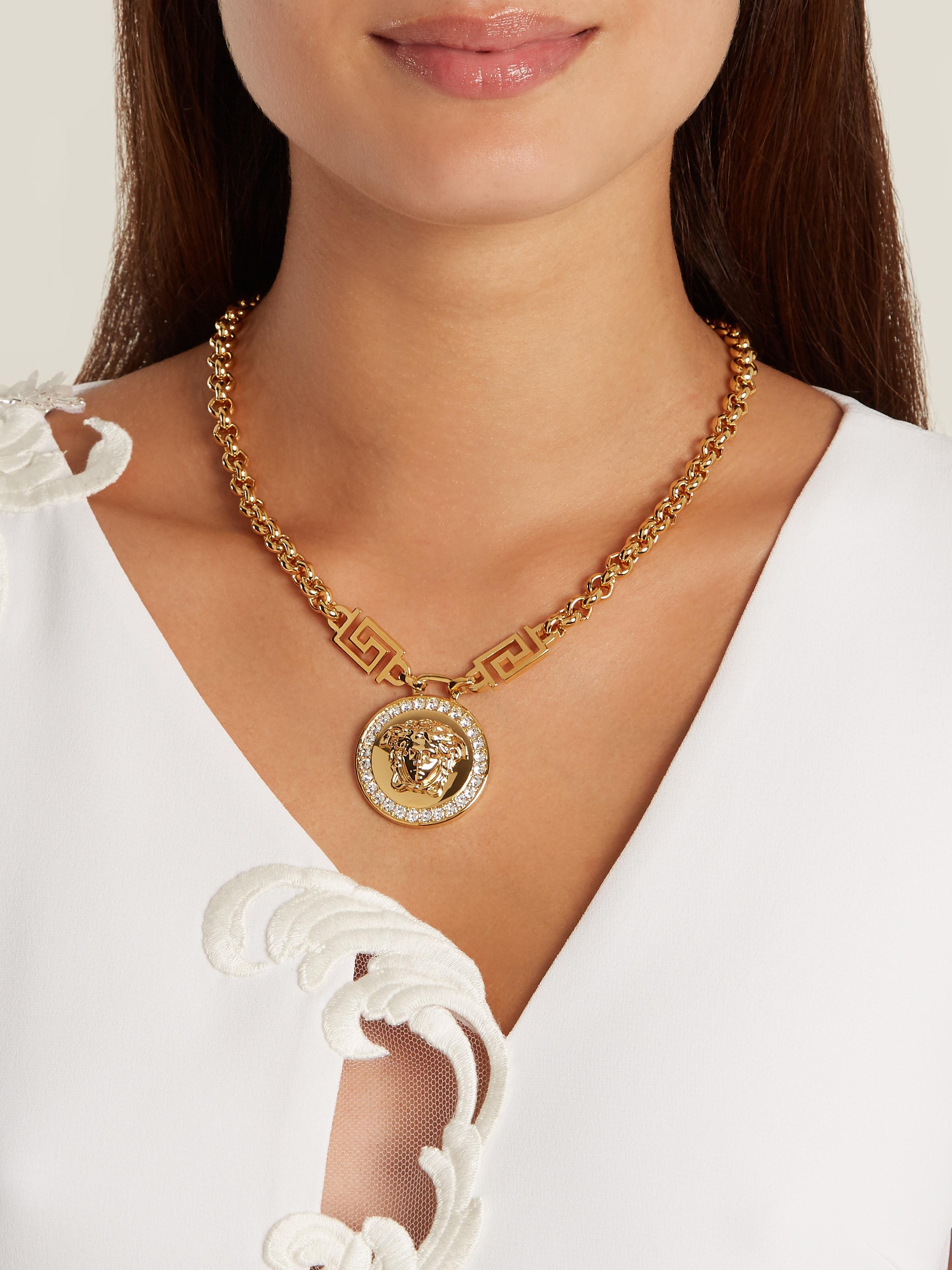 Lyst versace crystal embellished medusa necklace in metallic gallery aloadofball Images