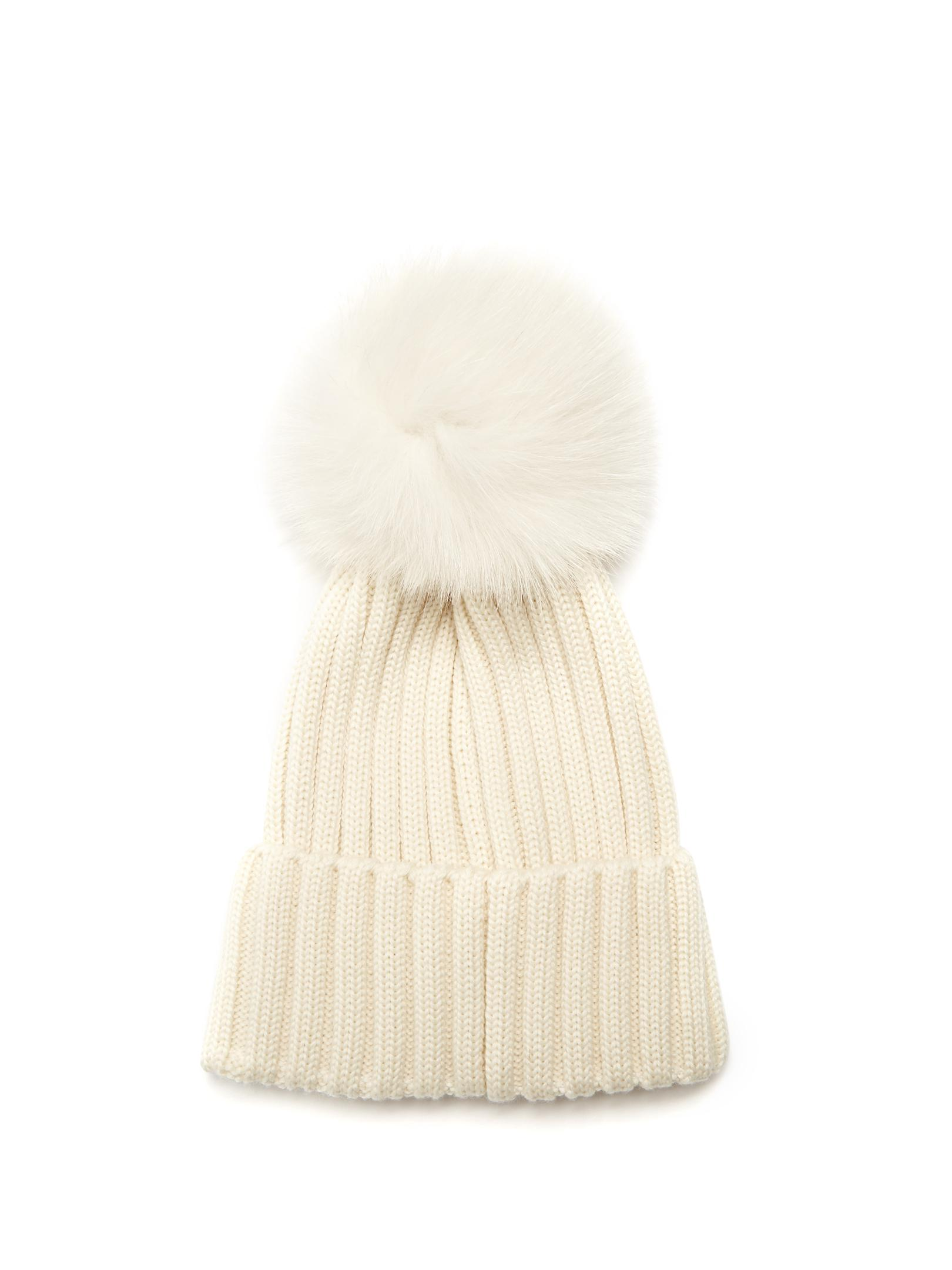 987cc58893d Lyst - Moncler Fur Pompom-embellished Wool Beanie Hat in White