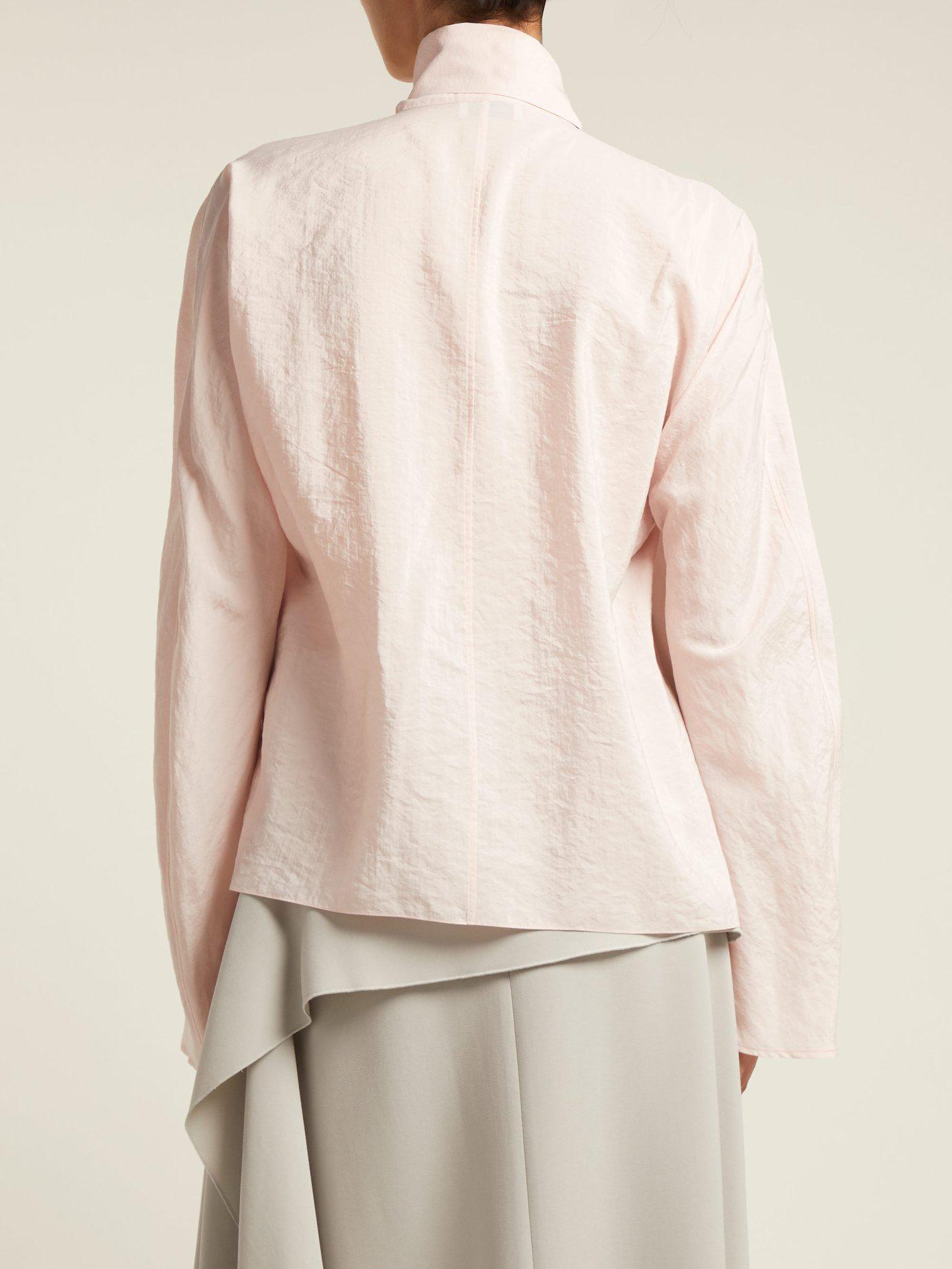 262953fc3d8840 Lemaire - Pink Silk Neck Tie Blouse - Lyst. View fullscreen