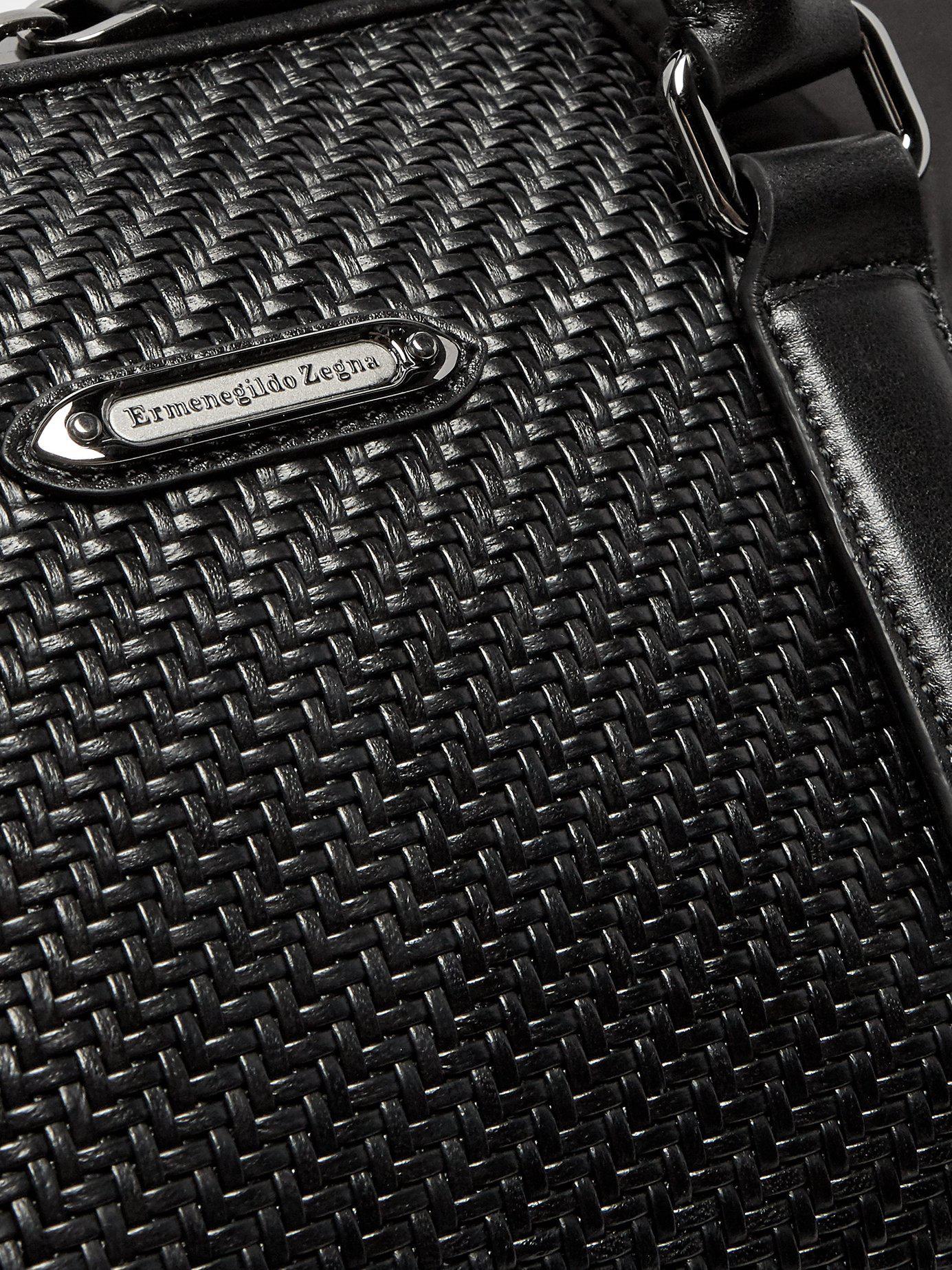 3d8f4ee177 Ermenegildo Zegna Pelle Tessuta Leather Holdall in Black for Men - Lyst