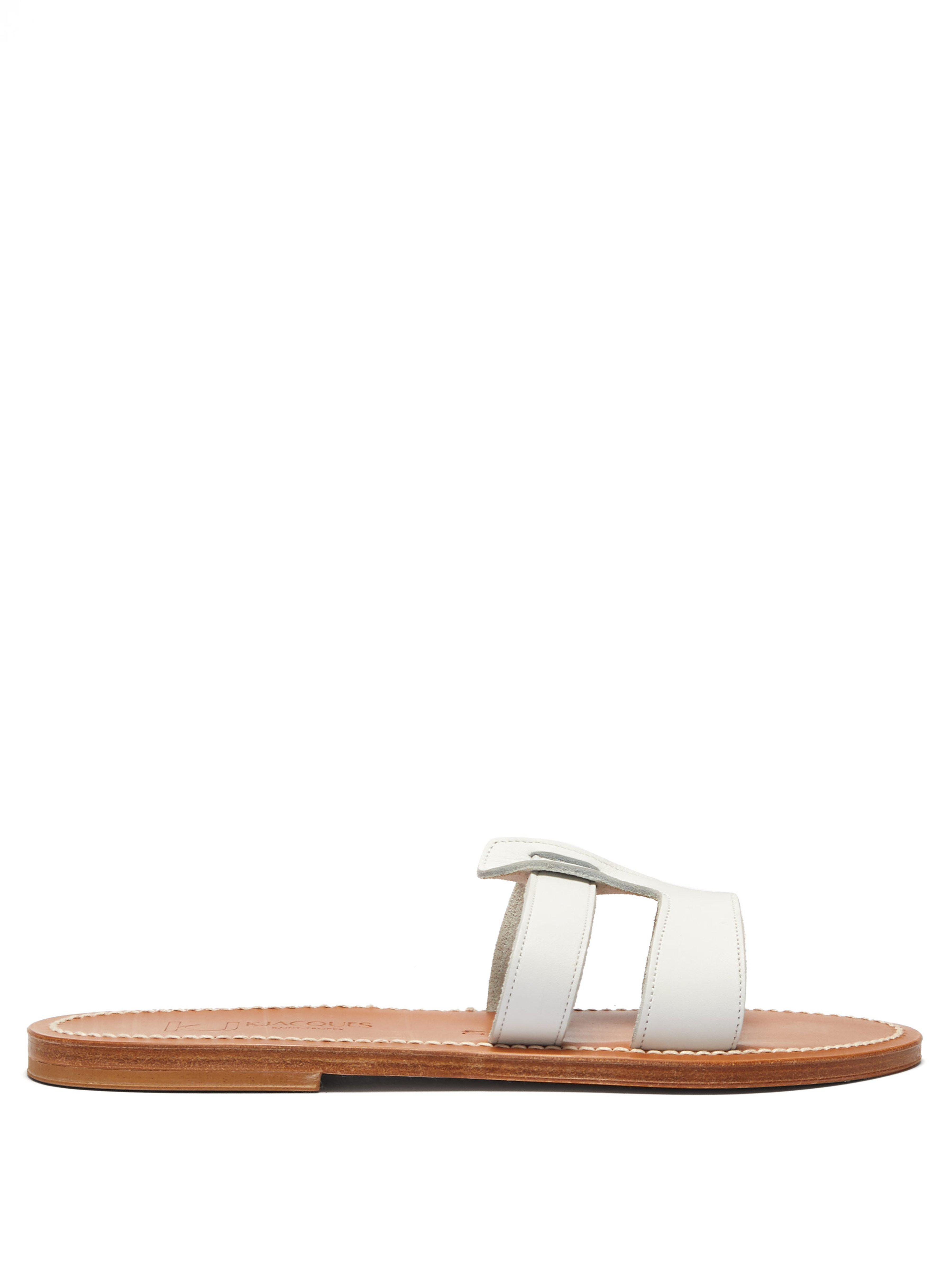 1b61048a0 K. Jacques Thanos Leather Slides in White - Lyst