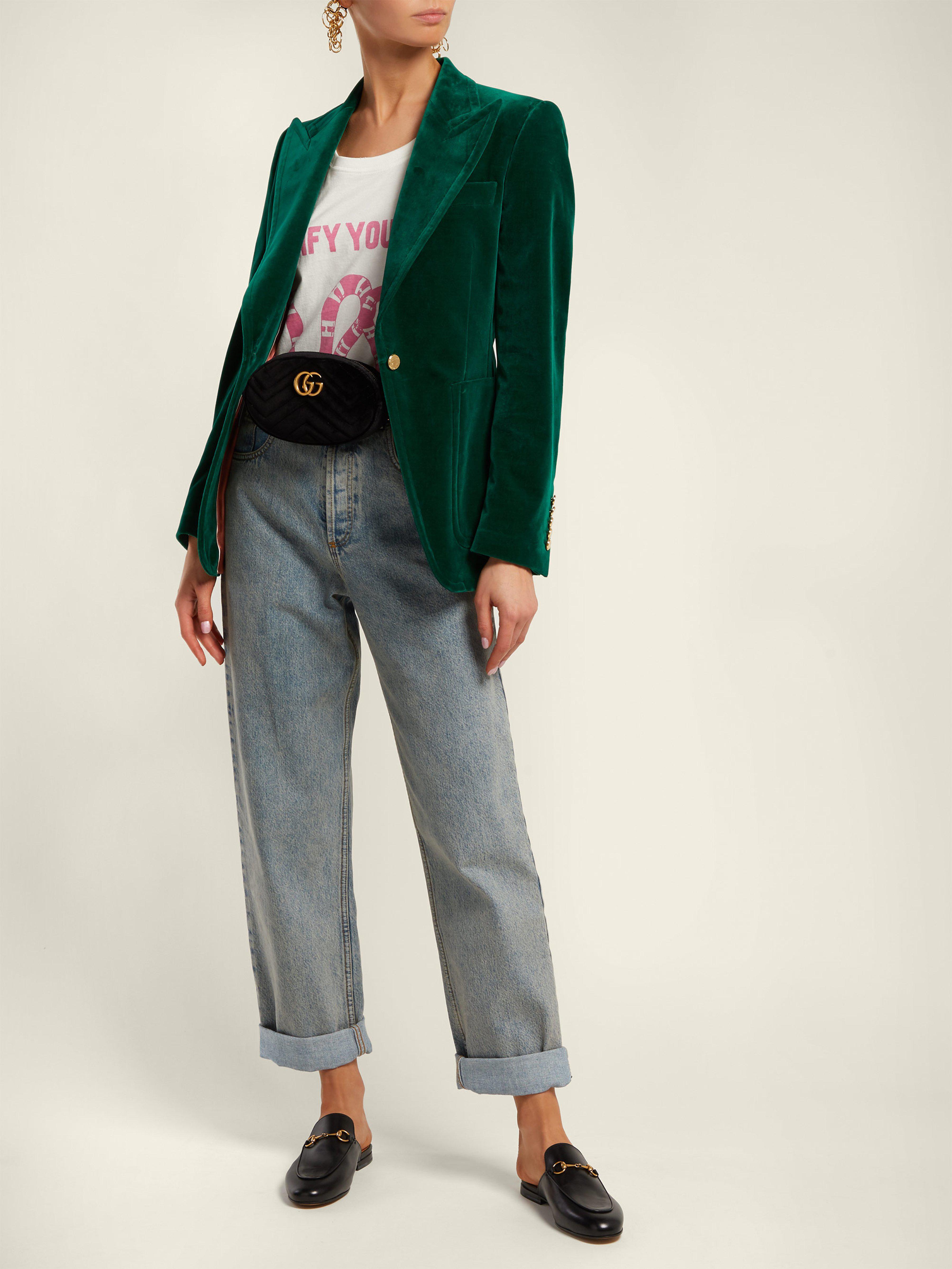 325b7848cbe Gucci Gg Marmont Quilted Velvet Belt Bag in Black - Lyst