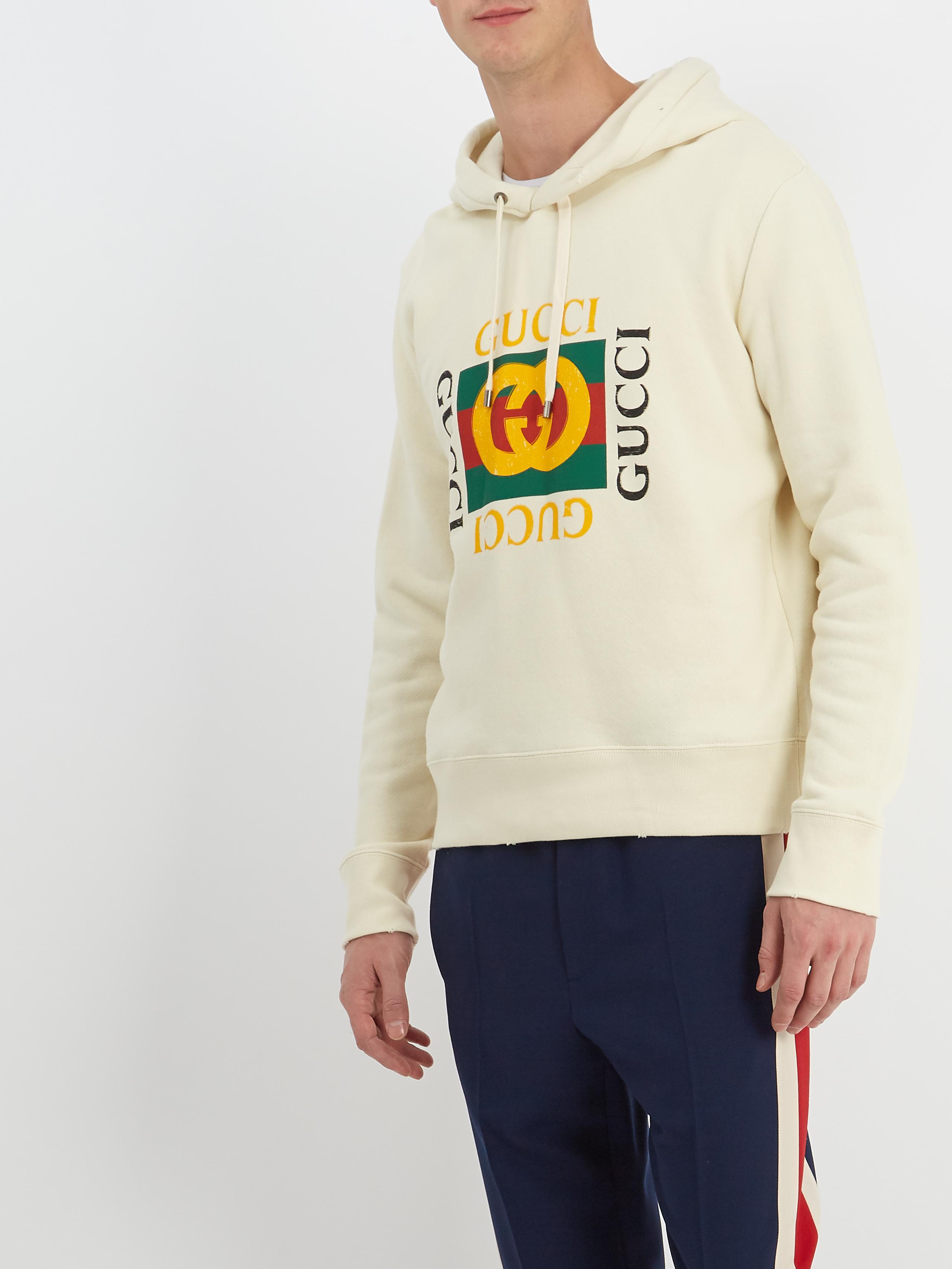 c657b910c7bf Lyst - Gucci Logo-print Cotton-jersey Hooded Sweatshirt for Men