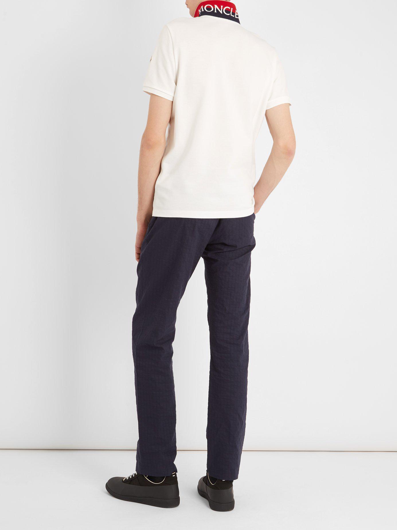1d5edf142 Lyst - Moncler Contrast Reverse Collar Cotton Piqué Polo Shirt in ...