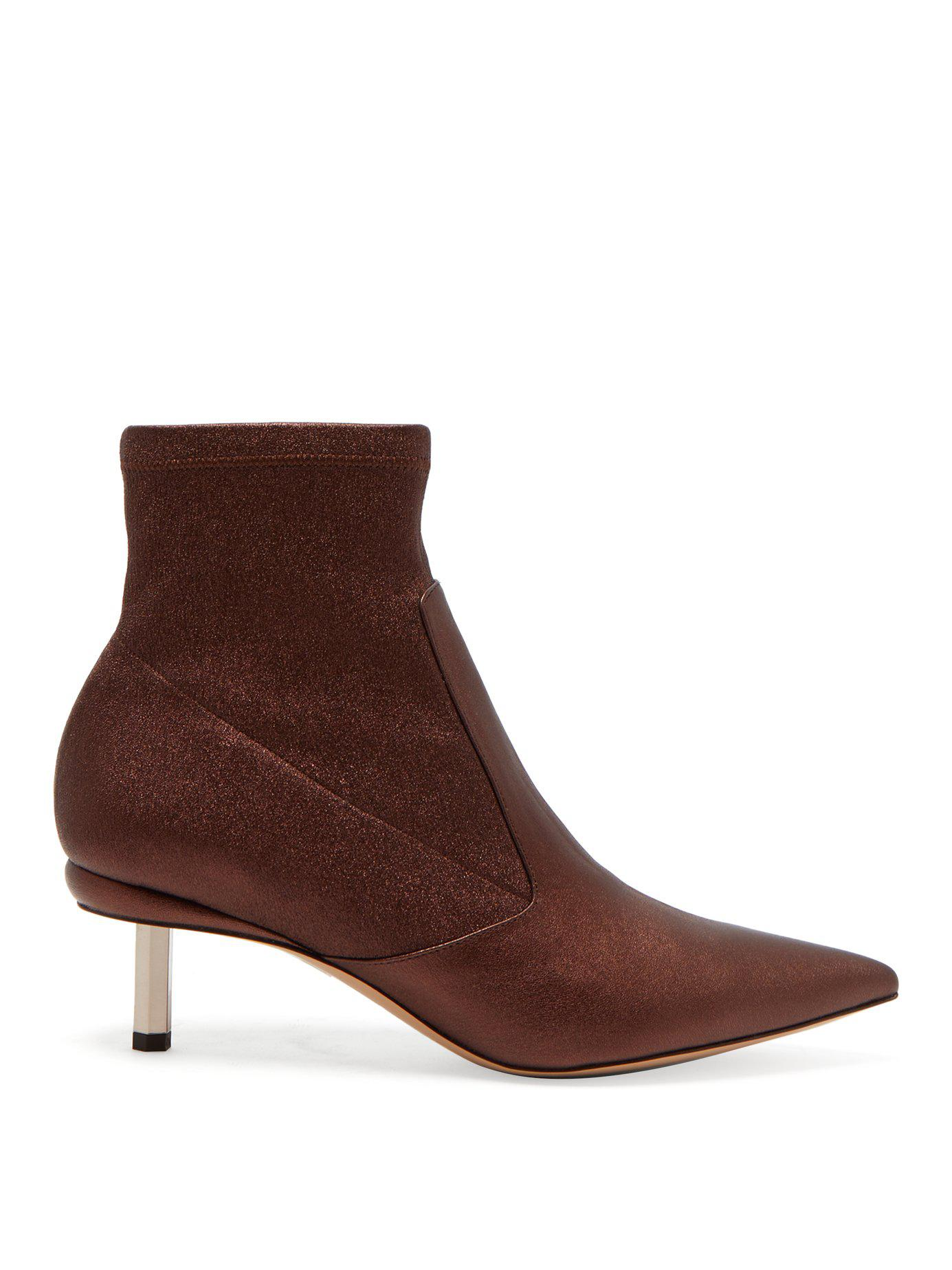 Lyst - Nicholas Kirkwood Polly Metallic Leather Ankle Boots in Brown 692138e750a65