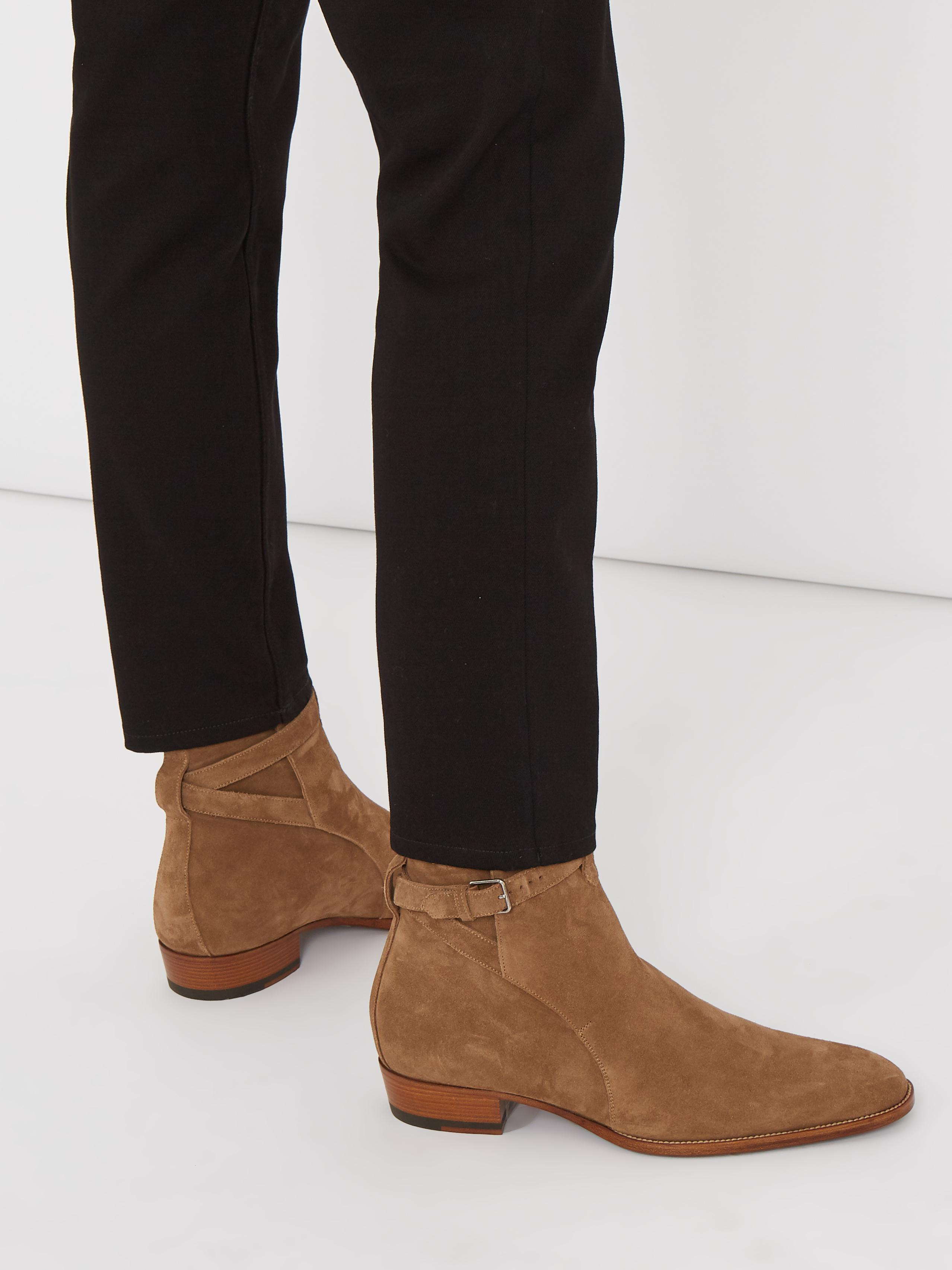 c848cb263d6 Saint Laurent Wyatt Jodhpur Suede Ankle Boots in Brown for Men - Lyst
