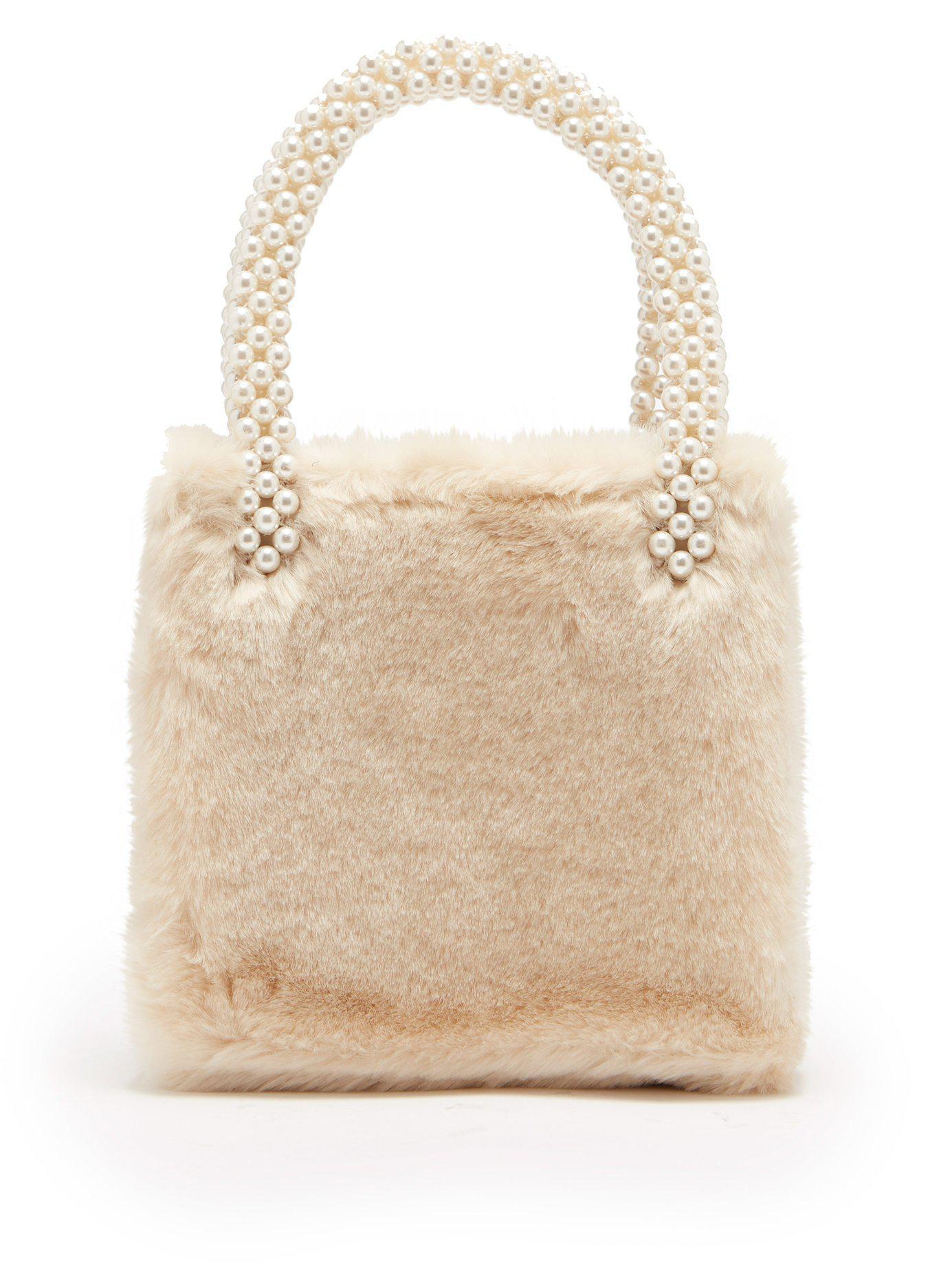 Shrimps Una Faux Fur Bag in White - Lyst 97ddafab7dacd