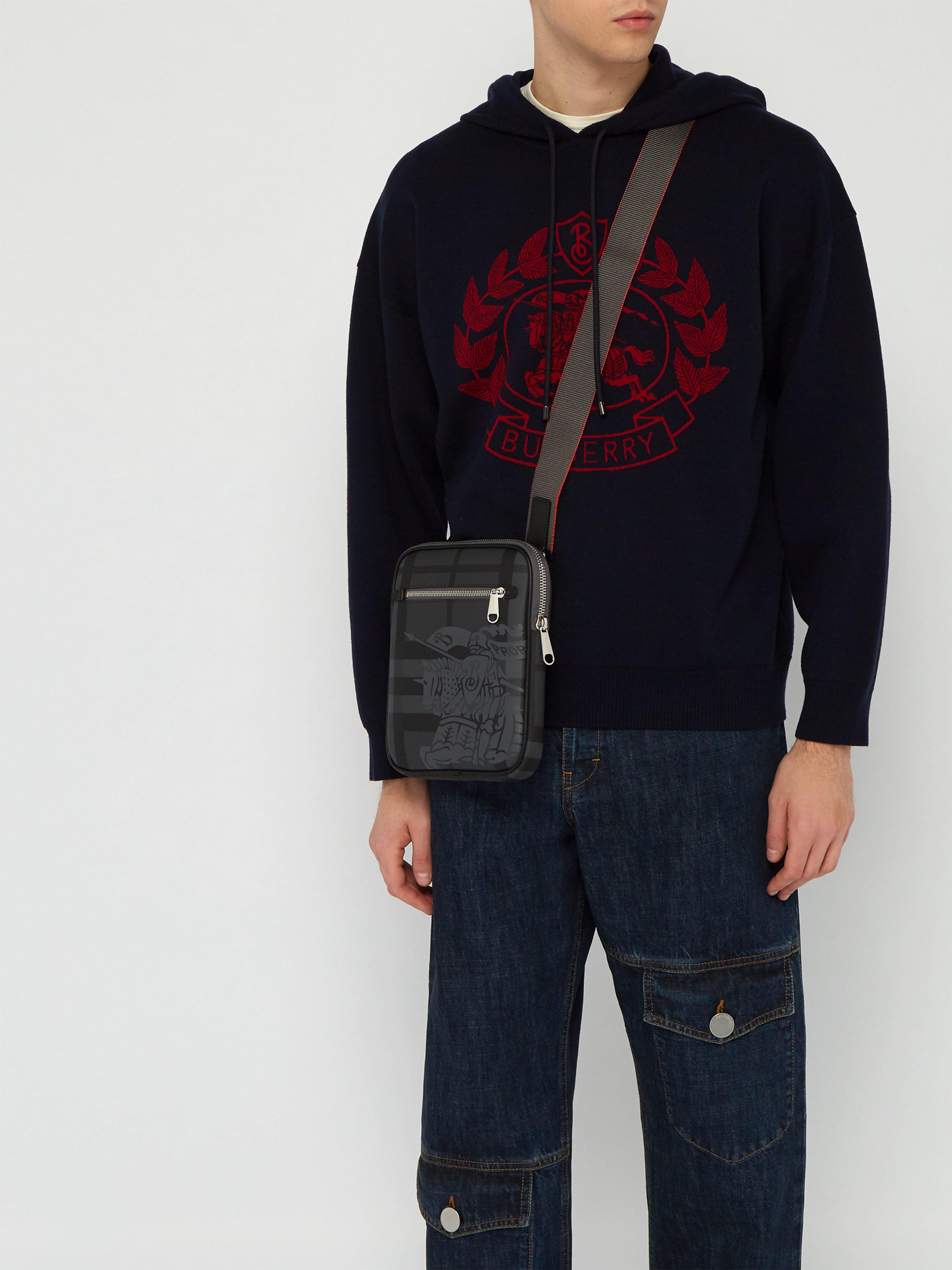 7c08c48878b9 Burberry - Gray Slim Ekd London Check Crossbody Bag for Men - Lyst. View  fullscreen
