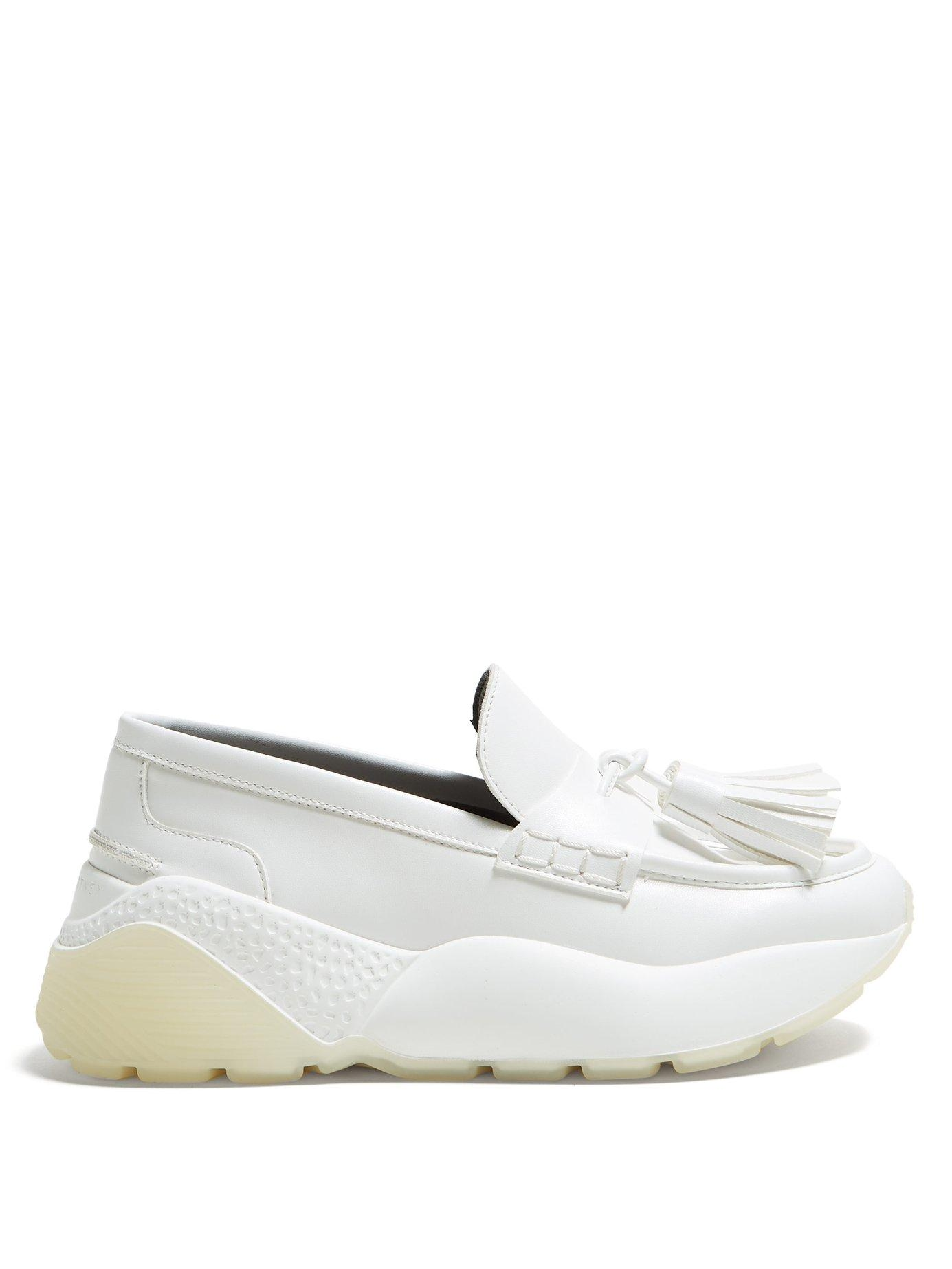 959e4ba0c42 Lyst - Stella McCartney Faux Leather Flatform Loafers in White