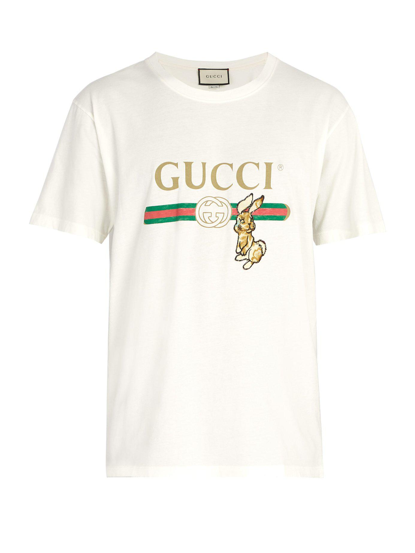 17b304f3217 Gucci - Multicolor Vintage Logo T Shirt With Bunny Appliqué for Men - Lyst.  View fullscreen