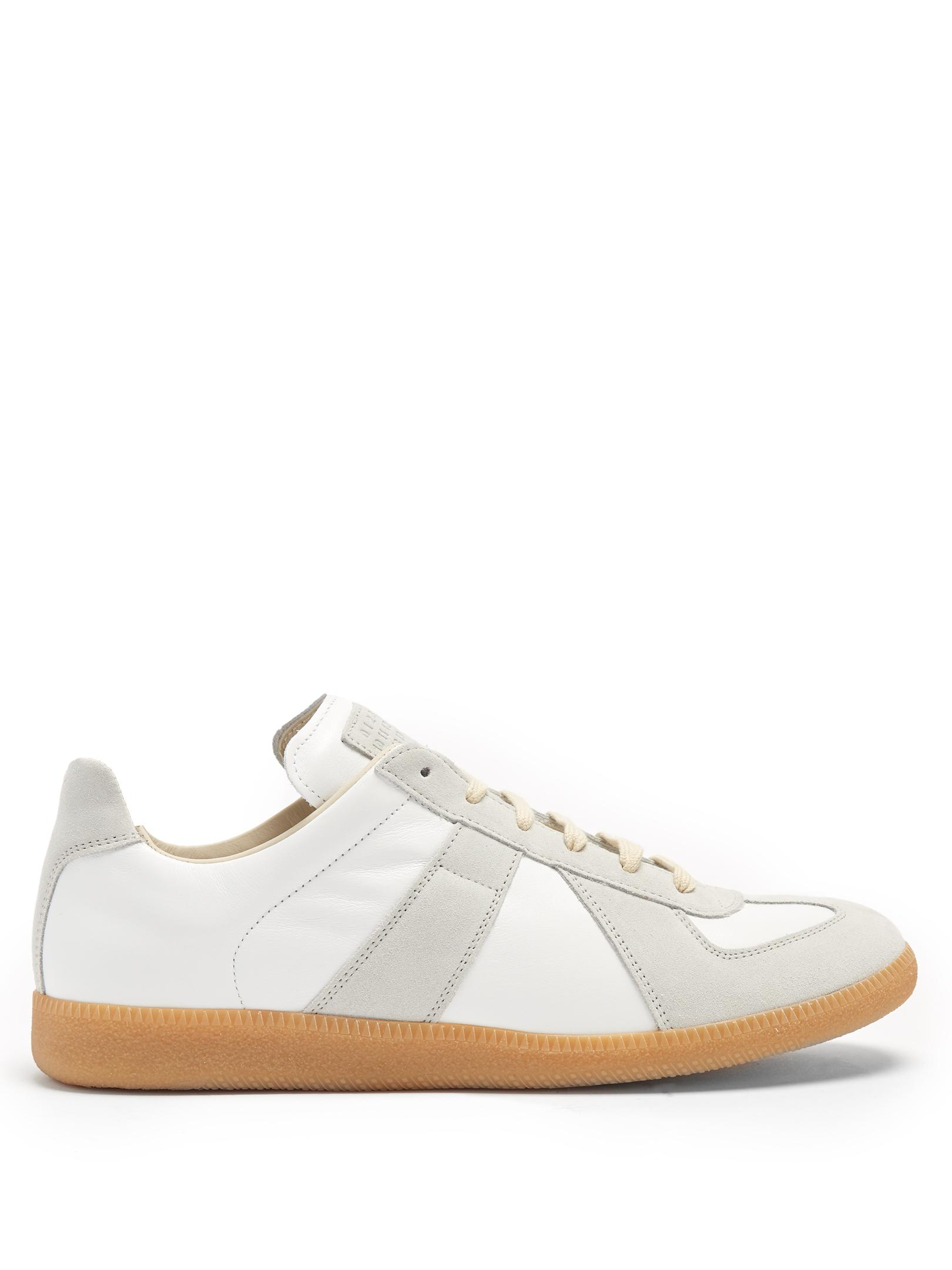 Replica suede-panel low-top leather trainers Maison Martin Margiela 5SrA1BB6