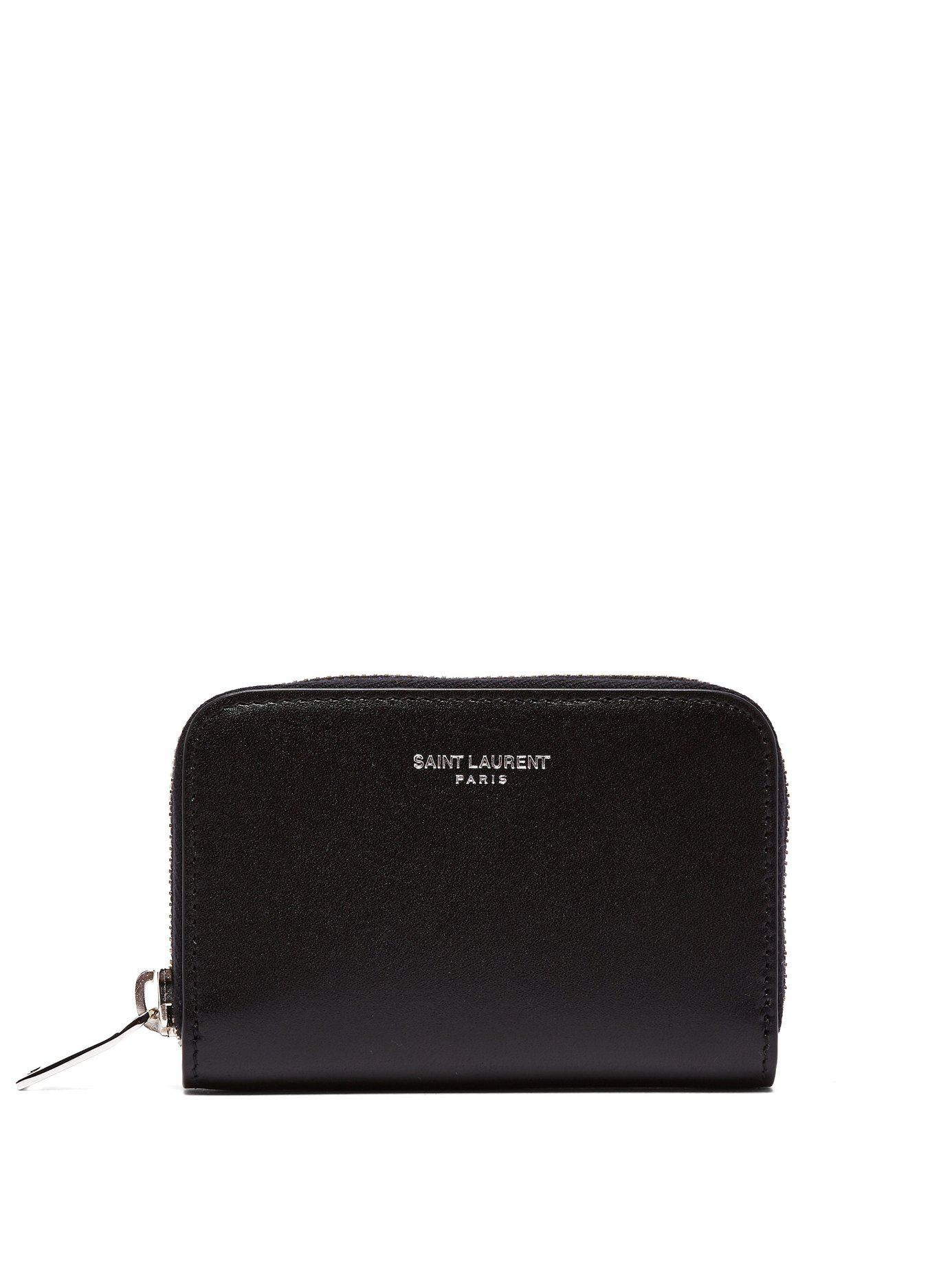 fcf7fe5e85d Lyst - Saint Laurent Logo Leather Coin Purse in Black for Men