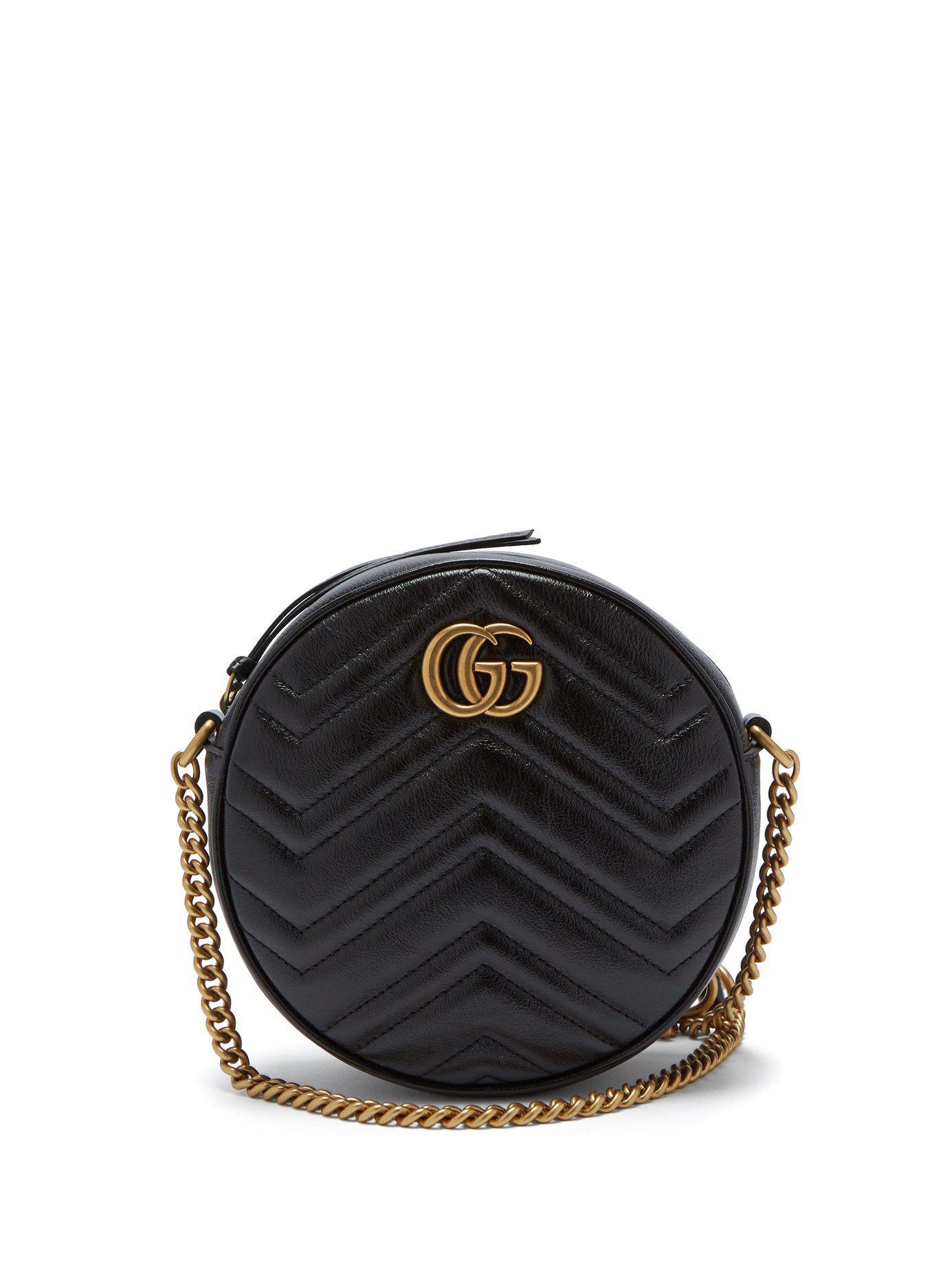 661b8884b78 Lyst - Gucci Gg Marmont Circular Leather Cross Body Bag in Black ...