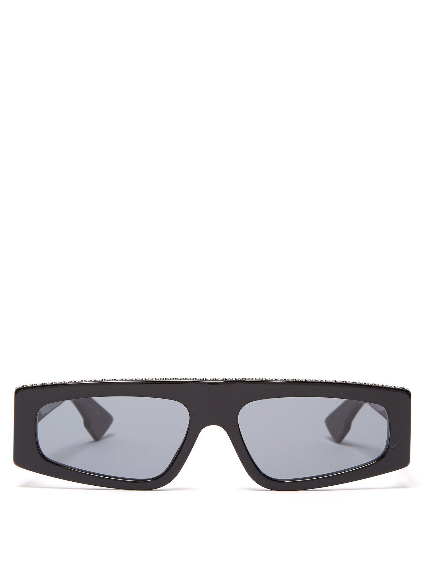 830cf1a2f1bf Lyst - Dior Power Crystal Embellished Flat Top Sunglasses in Black ...