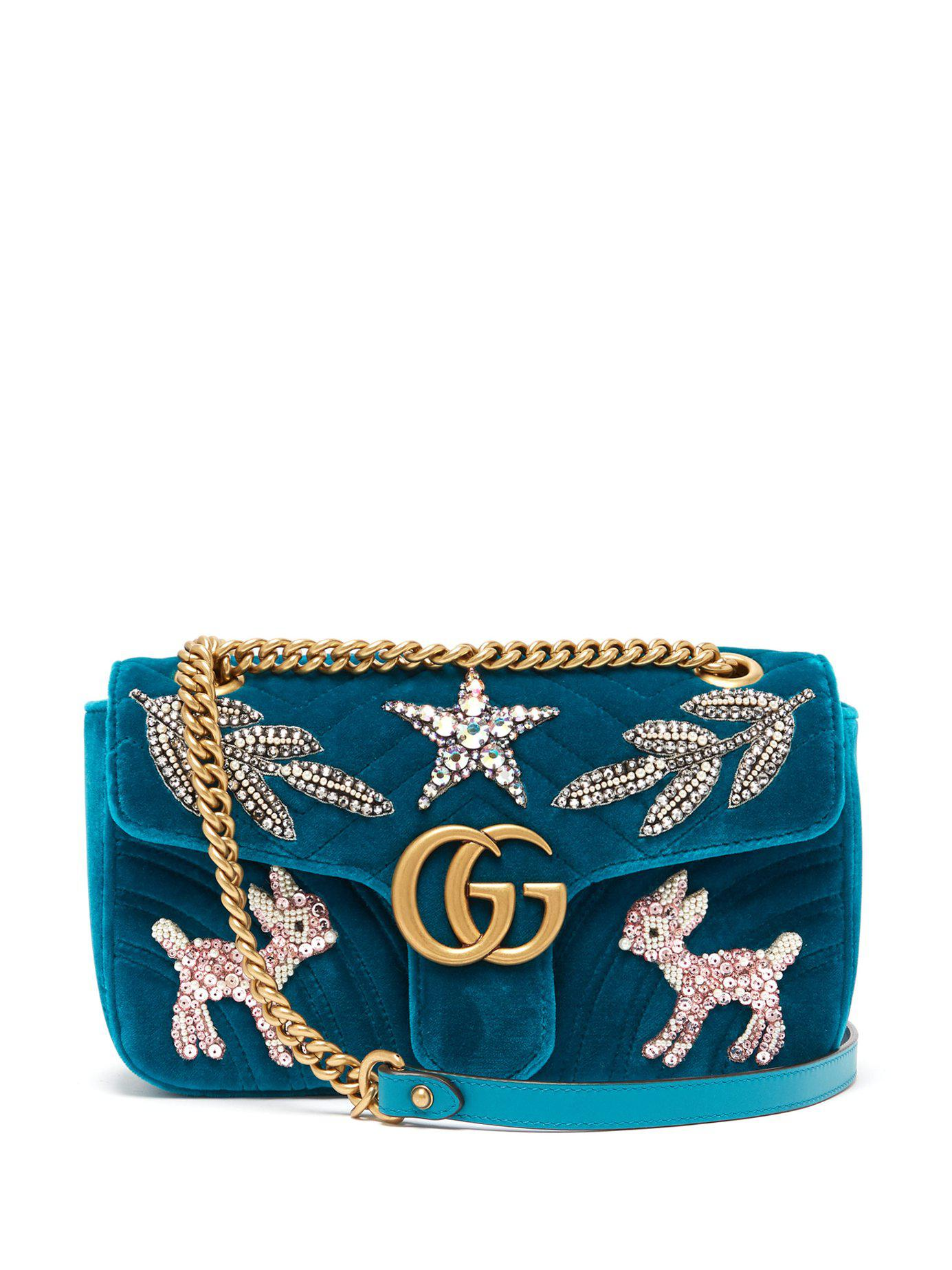 2384a097b9c Lyst - Gucci Gg Marmont Small Embellished Velvet Cross Body Bag in Blue