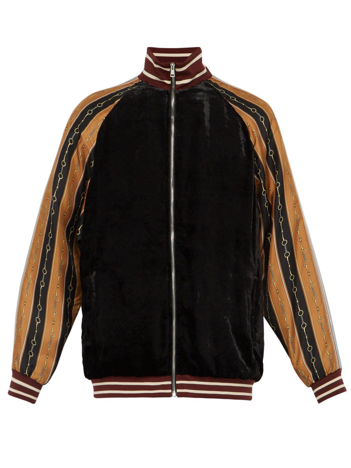 da0ae22a3 Lyst - Gucci Contrast Sleeve Velvet Bomber Jacket in Black for Men