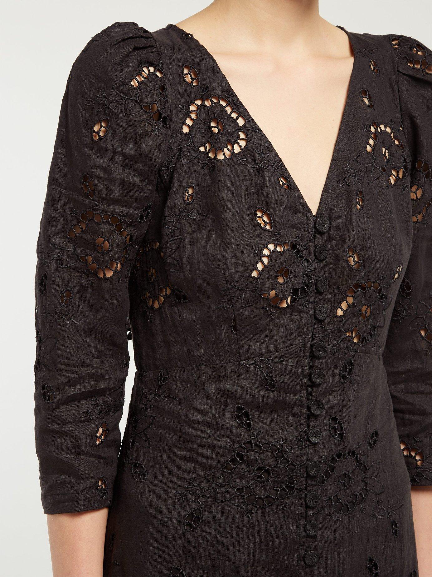 6e79f9d656 Rebecca Taylor - Black Terri Broderie Anglaise Linen Dress - Lyst. View  fullscreen