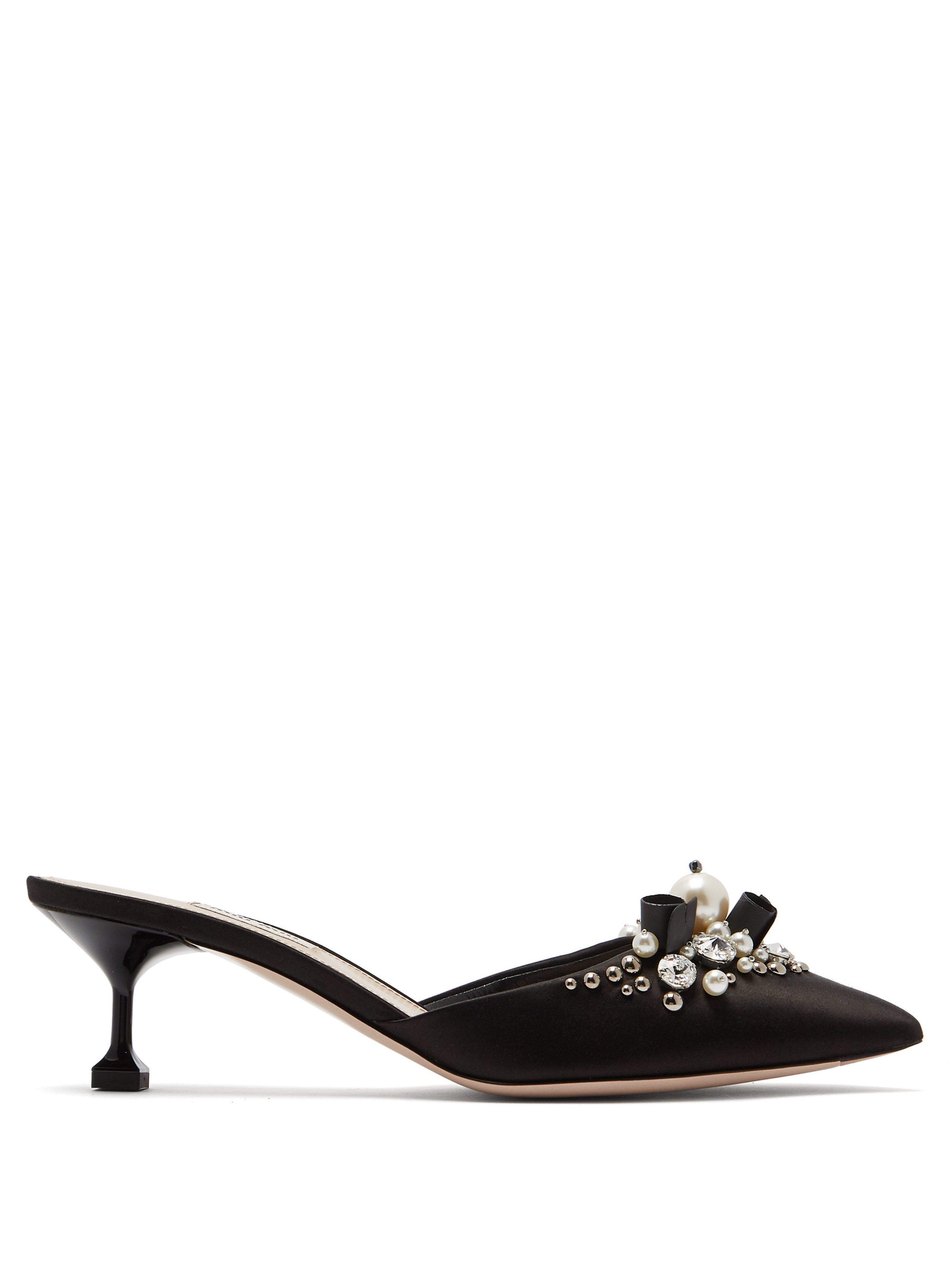 85ba2b65ae Miu Miu Faux Pearl And Crystal Embellished Satin Mules in Black - Lyst