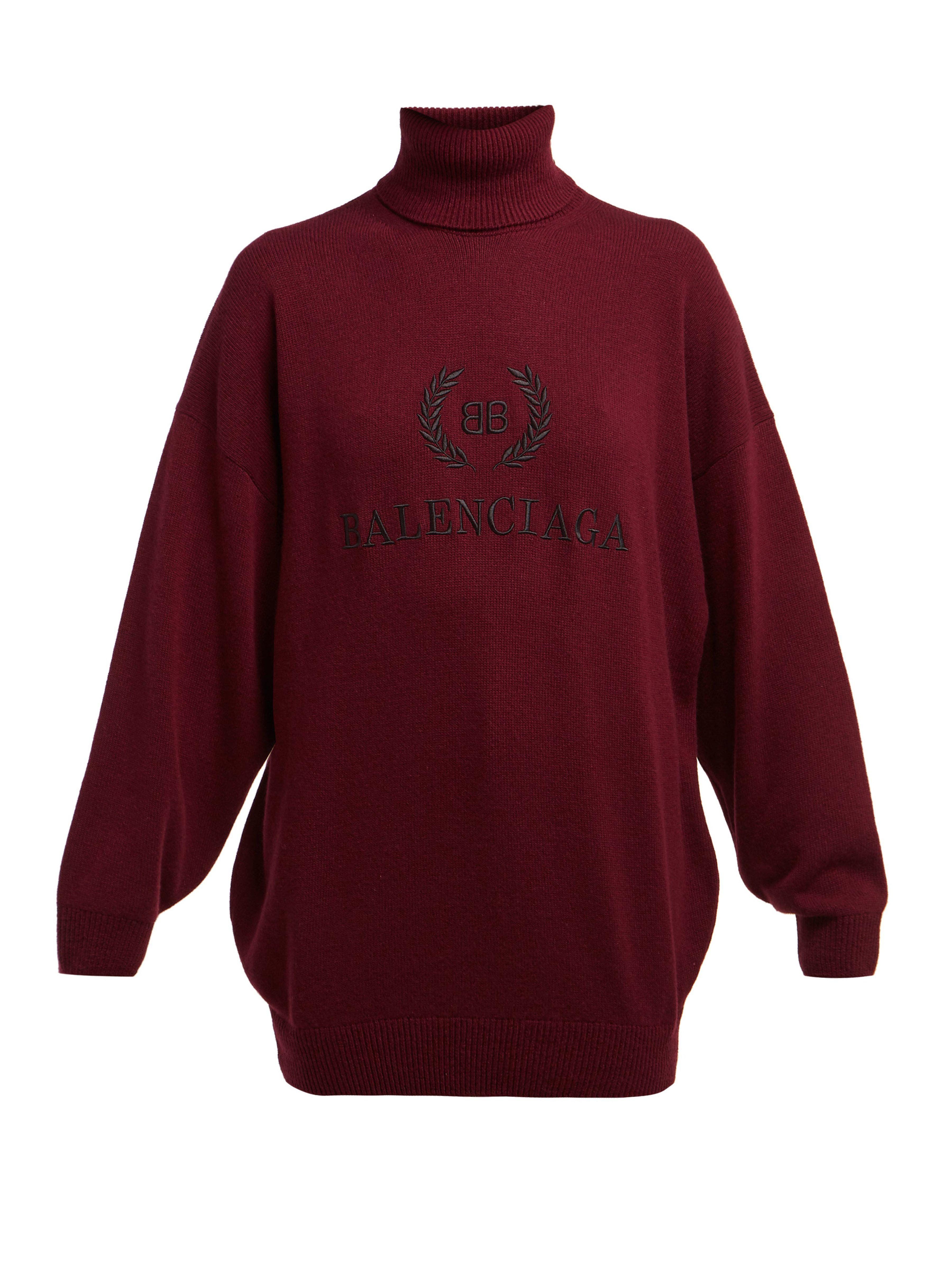 Balenciaga - Multicolor Logo Embroidered Roll Neck Wool Blend Sweater - Lyst.  View fullscreen 7534aeb07