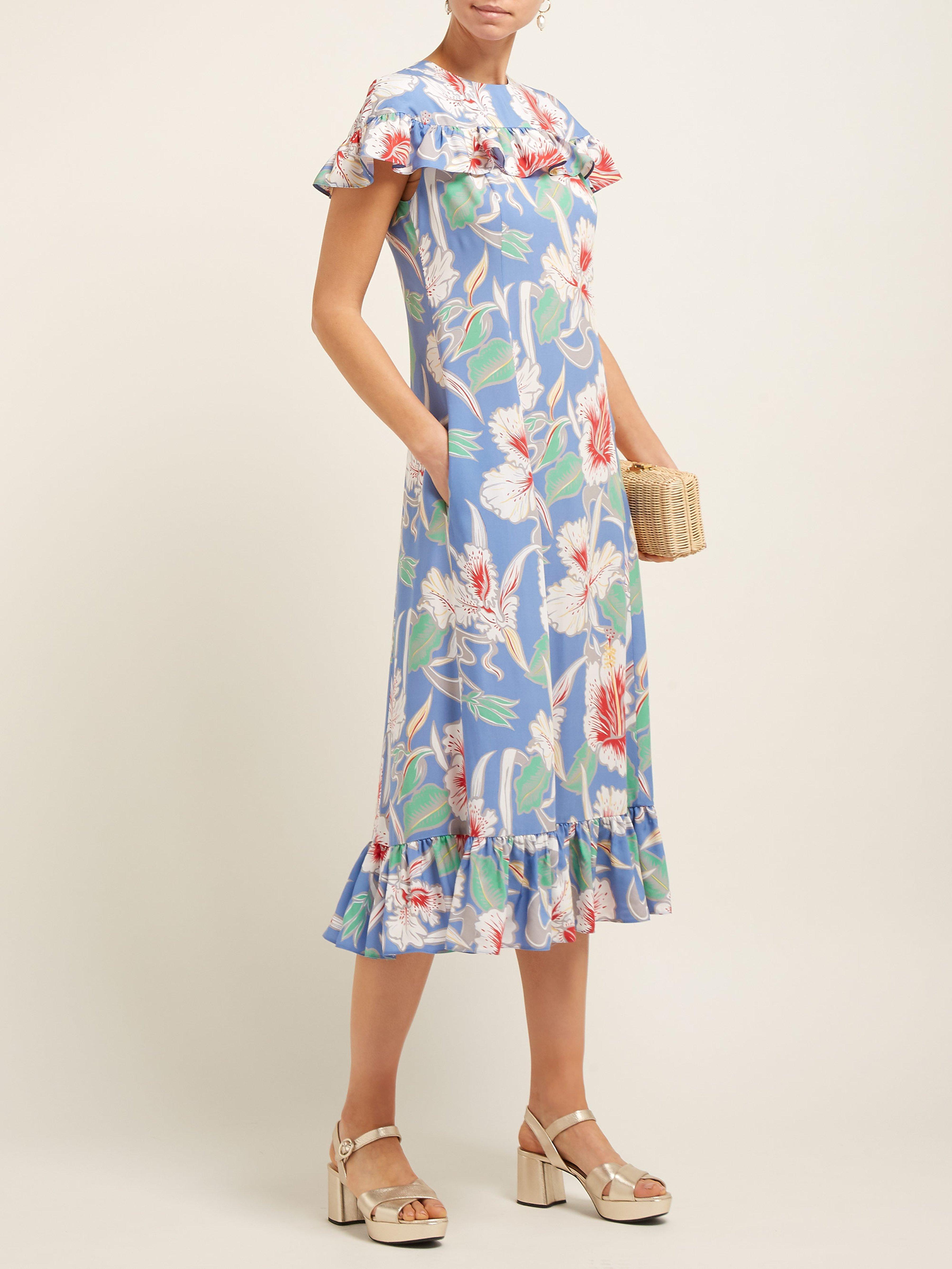 640409c9050 Valentino Hibiscus Print Ruffle Trimmed Crepe Midi Dress in Blue - Lyst