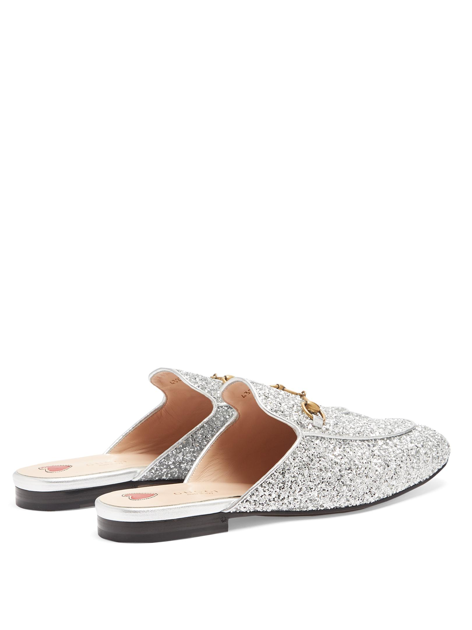 03c03e14e3f Gucci Princetown Glitter Backless Loafers in Metallic - Lyst