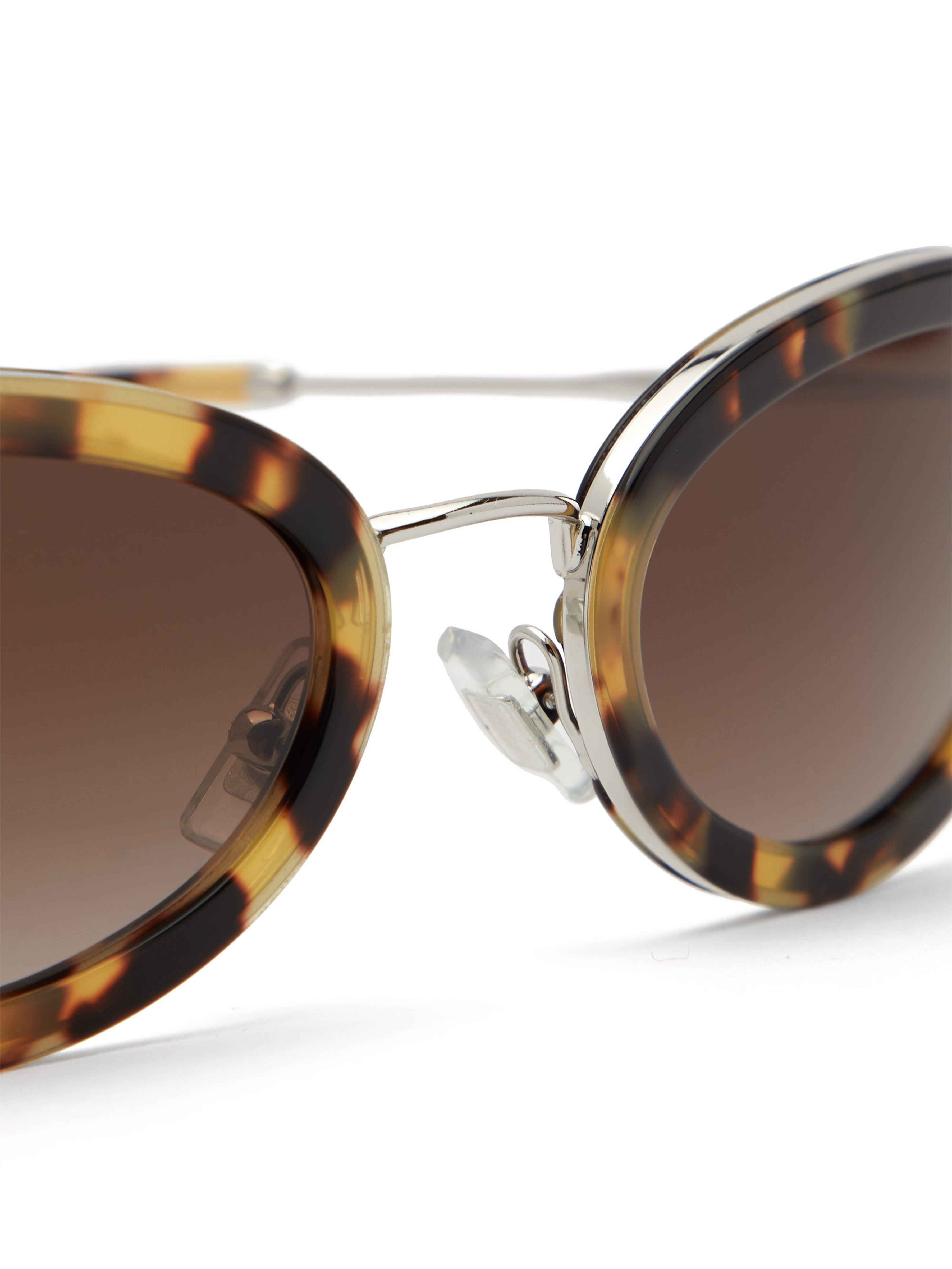 7a2754b92ec30 Miu Miu - Brown Délice Tortoiseshell Acetate Oval Sunglasses - Lyst. View  fullscreen
