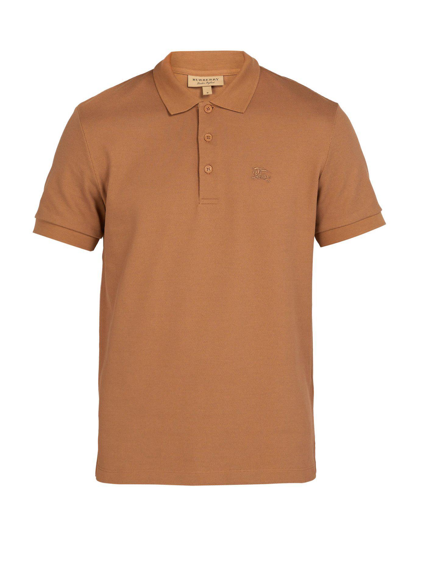 fca25fbfc1fc Burberry - Multicolor Logo Embroidered Cotton Piqué Polo Shirt for Men -  Lyst. View fullscreen