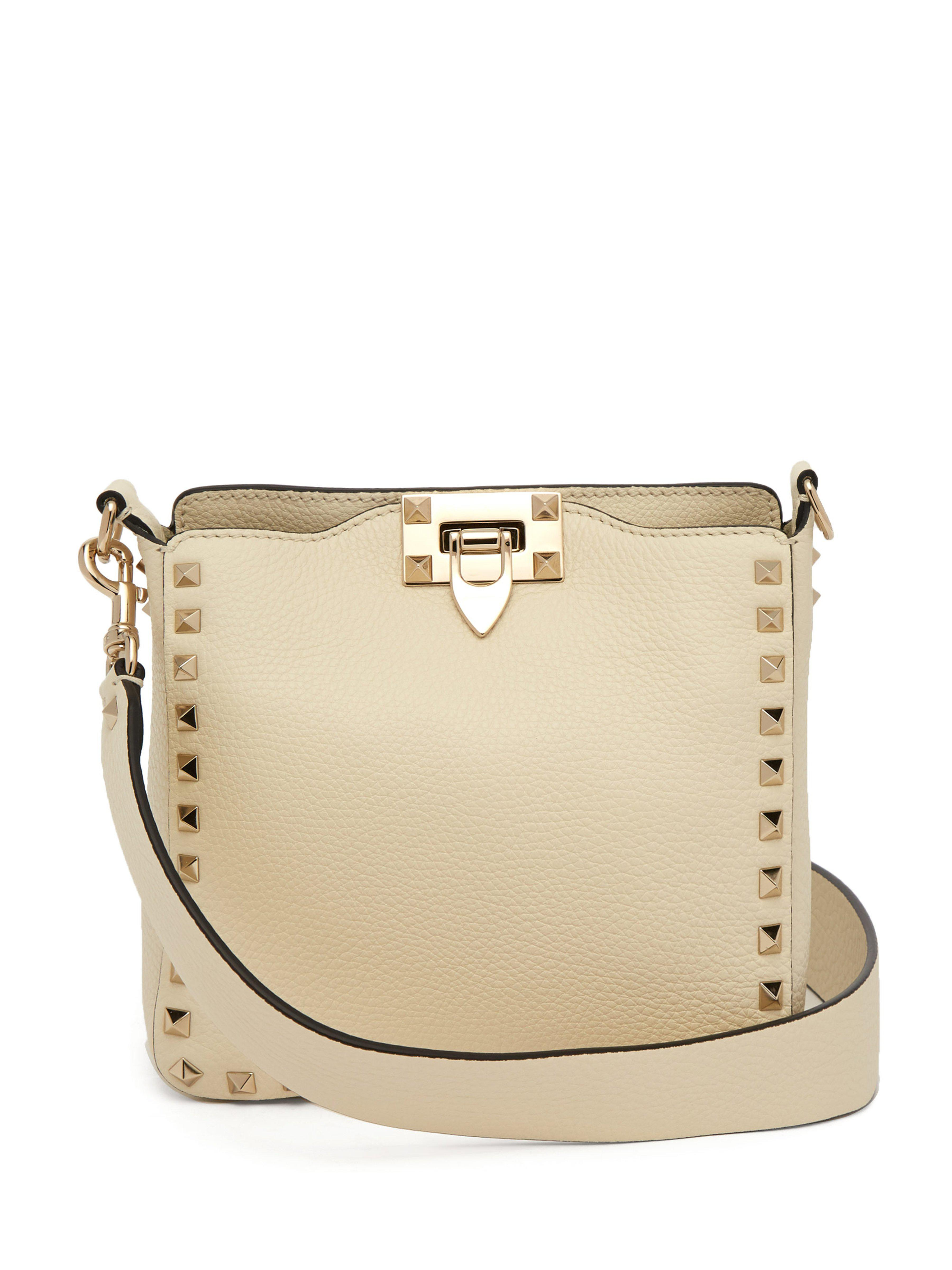 ca3063561797 Valentino Rockstud Grained Leather Cross Body Bag in White - Lyst