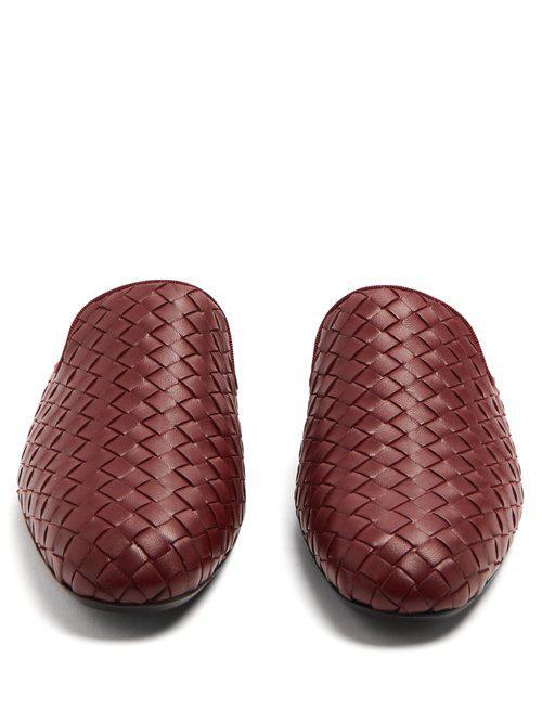74772fe109b49 Bottega Veneta Fiandra Intrecciato Leather Backless Loafers - Lyst