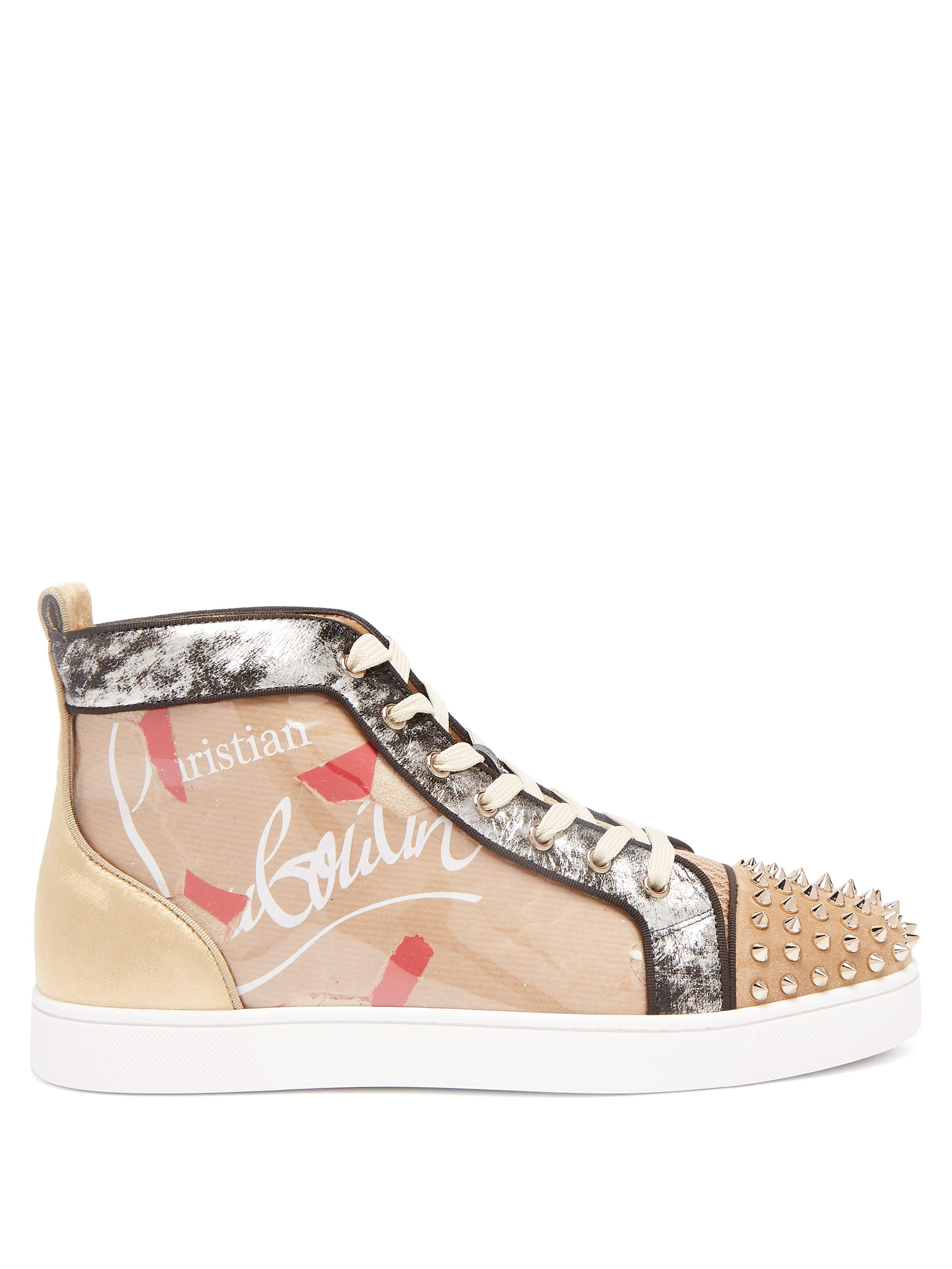 5be79f2a1d3 Christian Louboutin Louis Spike Embellished Kraft High Top Trainers ...