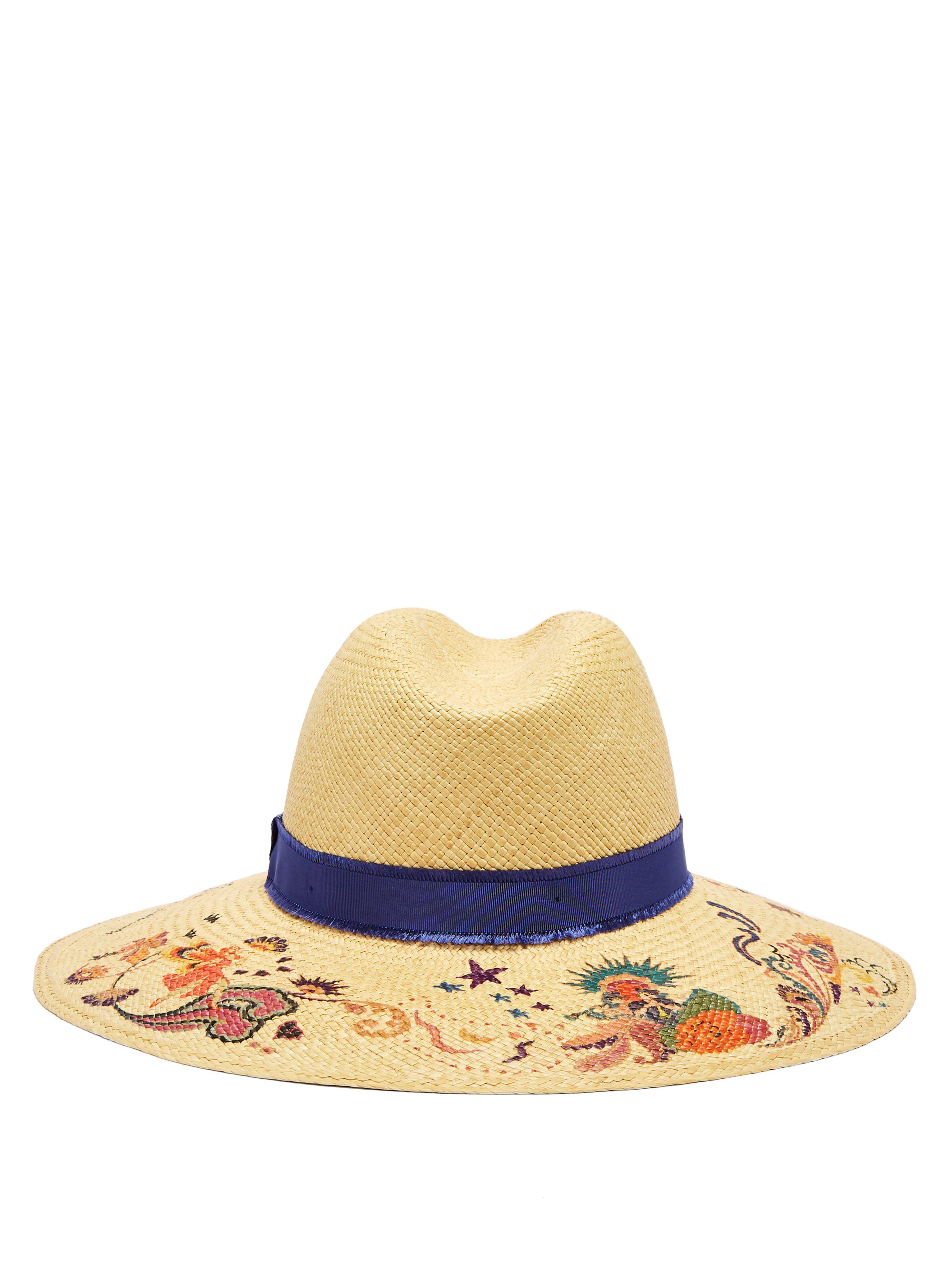 77d0960f Etro - Natural Grosgrain-trimmed Floral-print Straw Hat - Lyst. View  fullscreen