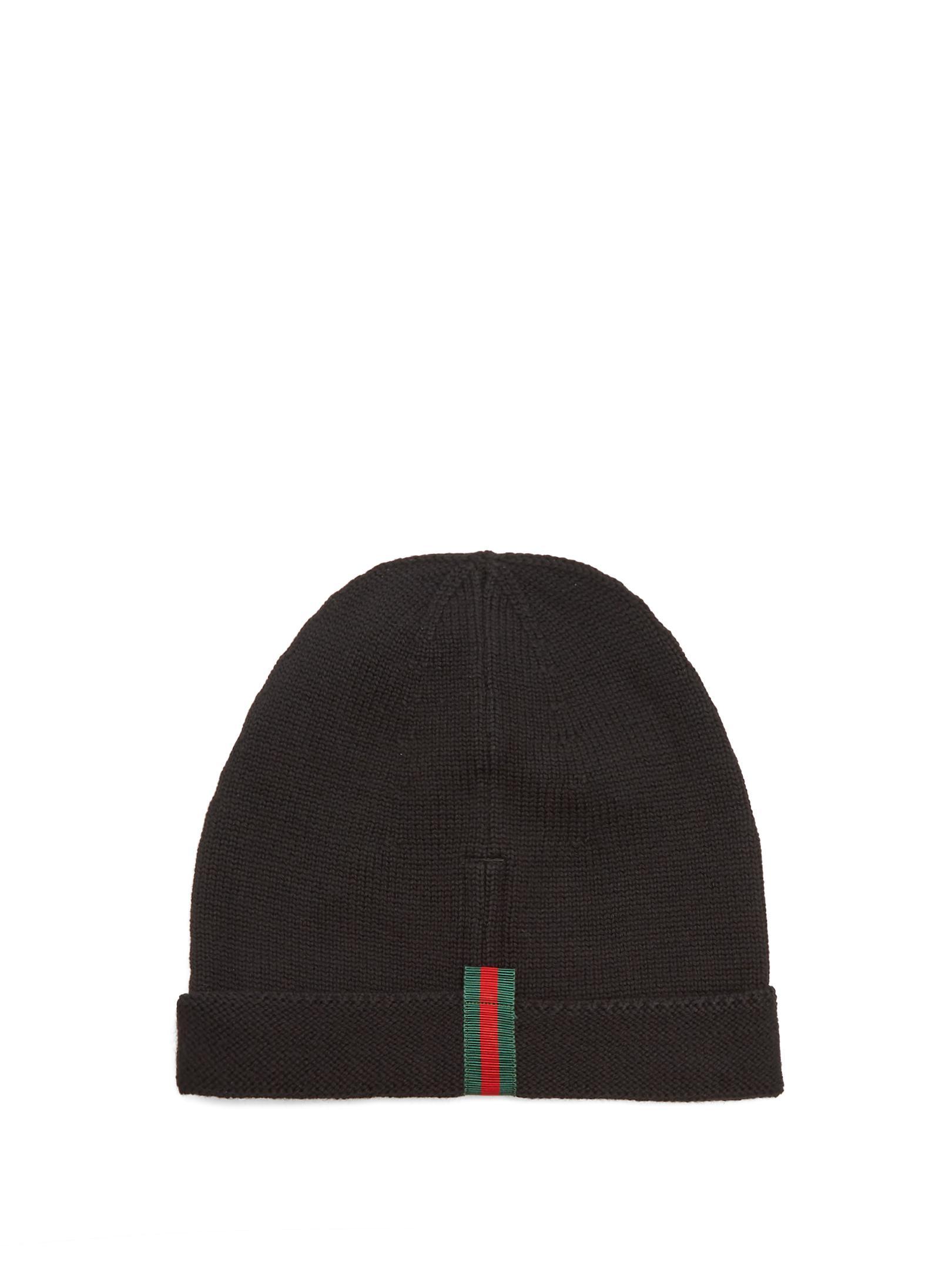 Gucci Web-trimmed Wool Beanie Hat in Black for Men - Lyst e2e63b3881c9