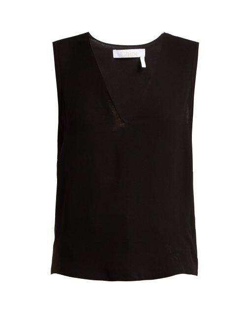 V-neck crepe tank top Chloé Limited Edition Cheap Price Clearance Get To Buy Sale Cheapest Top Quality Online d0wQlkRh6Q