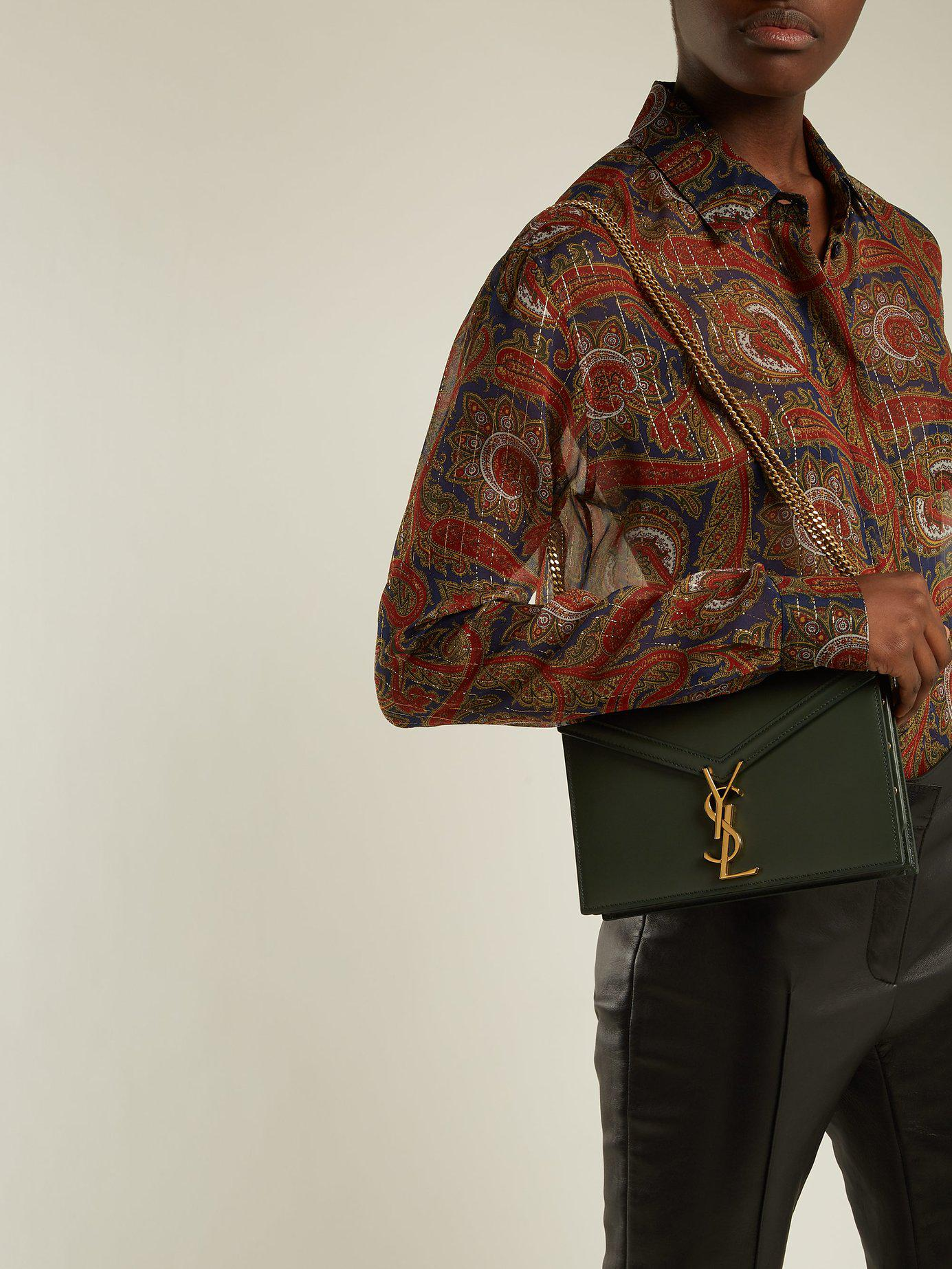 e86e30ae3 Saint Laurent Cassandra Ysl-clasp Leather Cross-body Bag in Green - Lyst