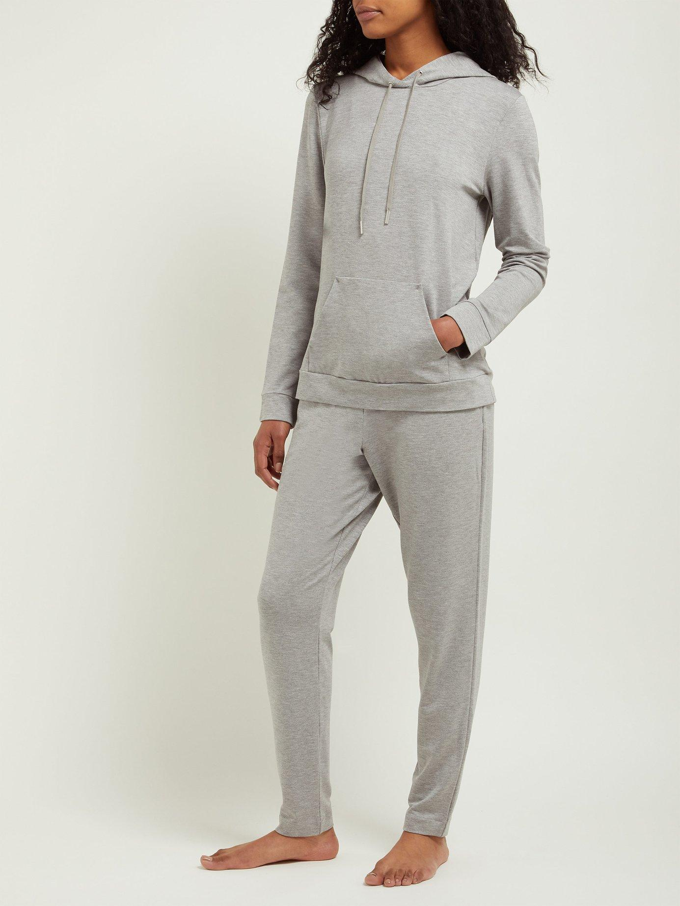 06d90fca688db Hanro Balance Hooded Pyjama Top in Gray - Lyst