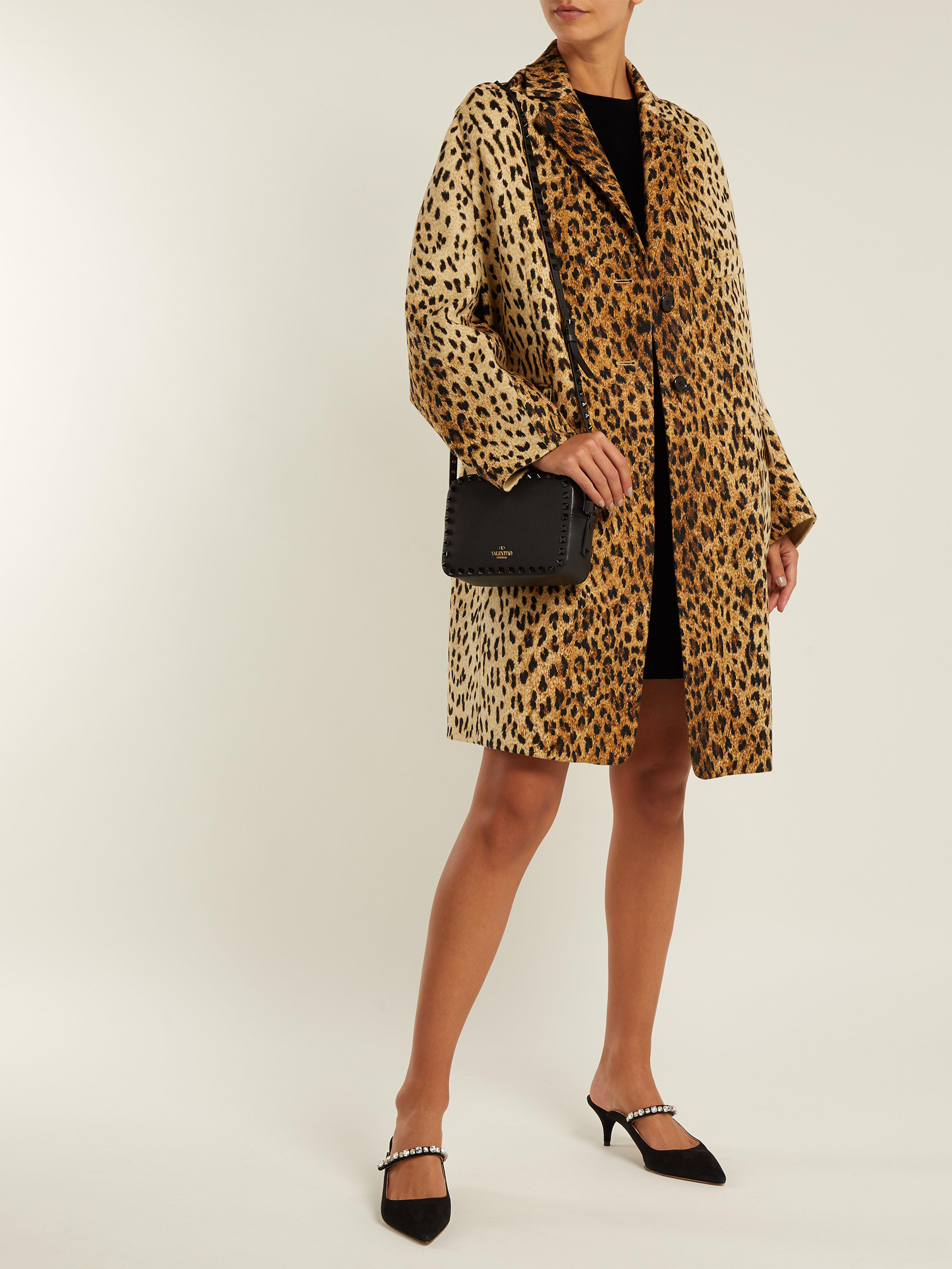 1e39d2203038 Valentino Leopard-print Wool-blend Coat in Brown - Lyst