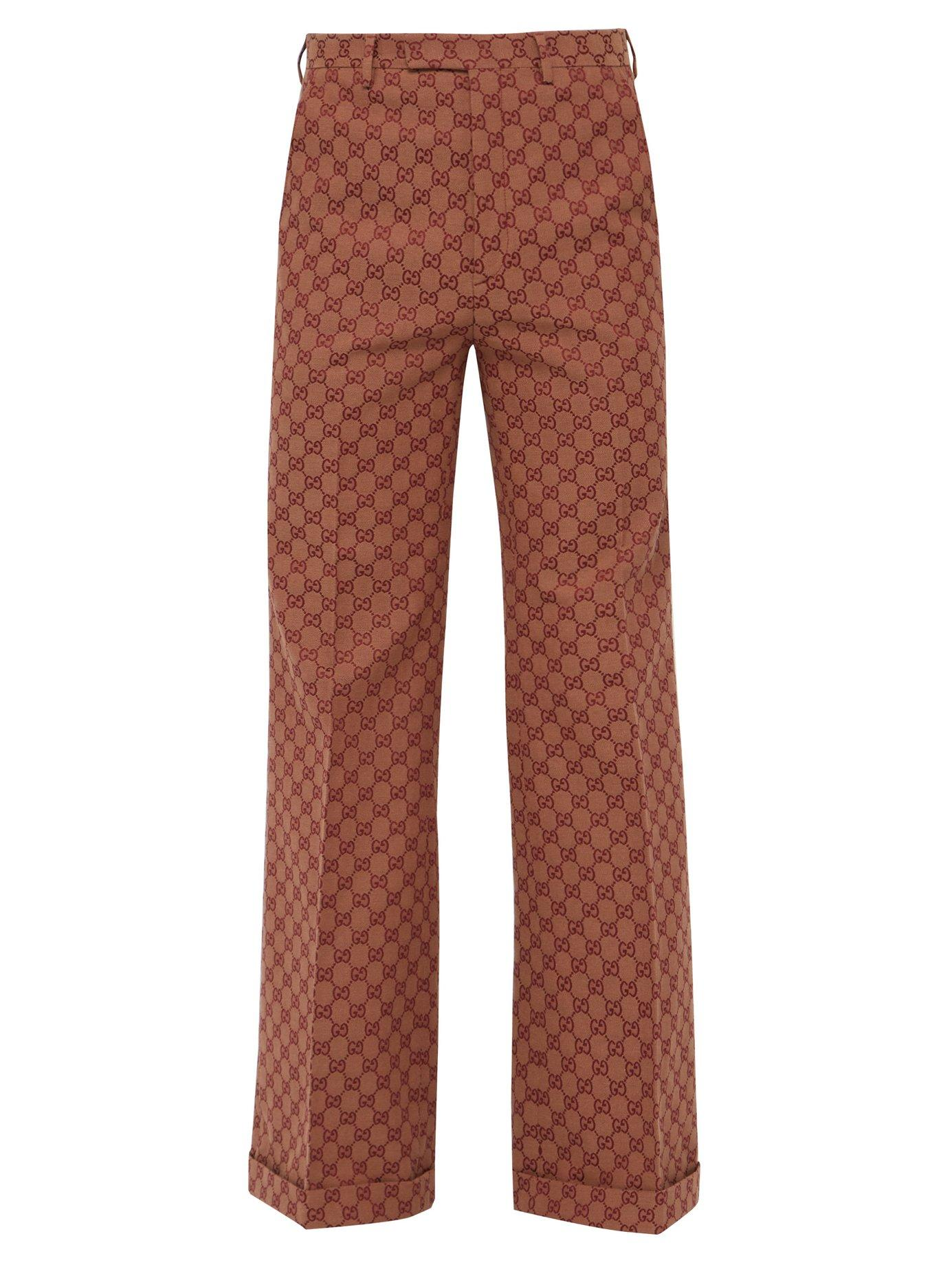 9bc53691b Lyst - Gucci Gg Logo Jacquard Cotton Twill Wide Leg Trousers in Red ...