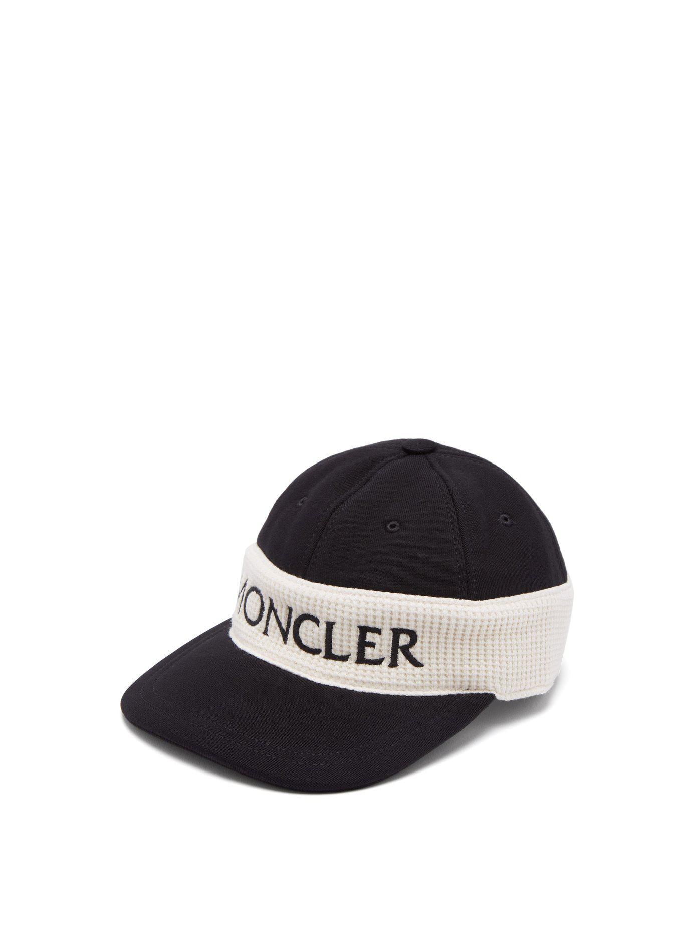 0cabf36558ff Lyst - Moncler Fitted Logo Embroidered Cotton Cap in Black for Men