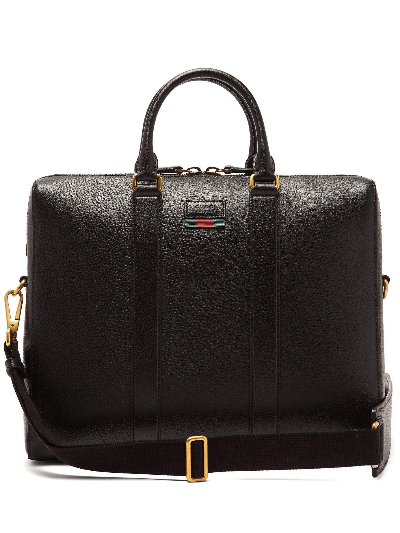 c17dccc12461 Gucci Web Stripe Leather Briefcase in Black for Men - Lyst
