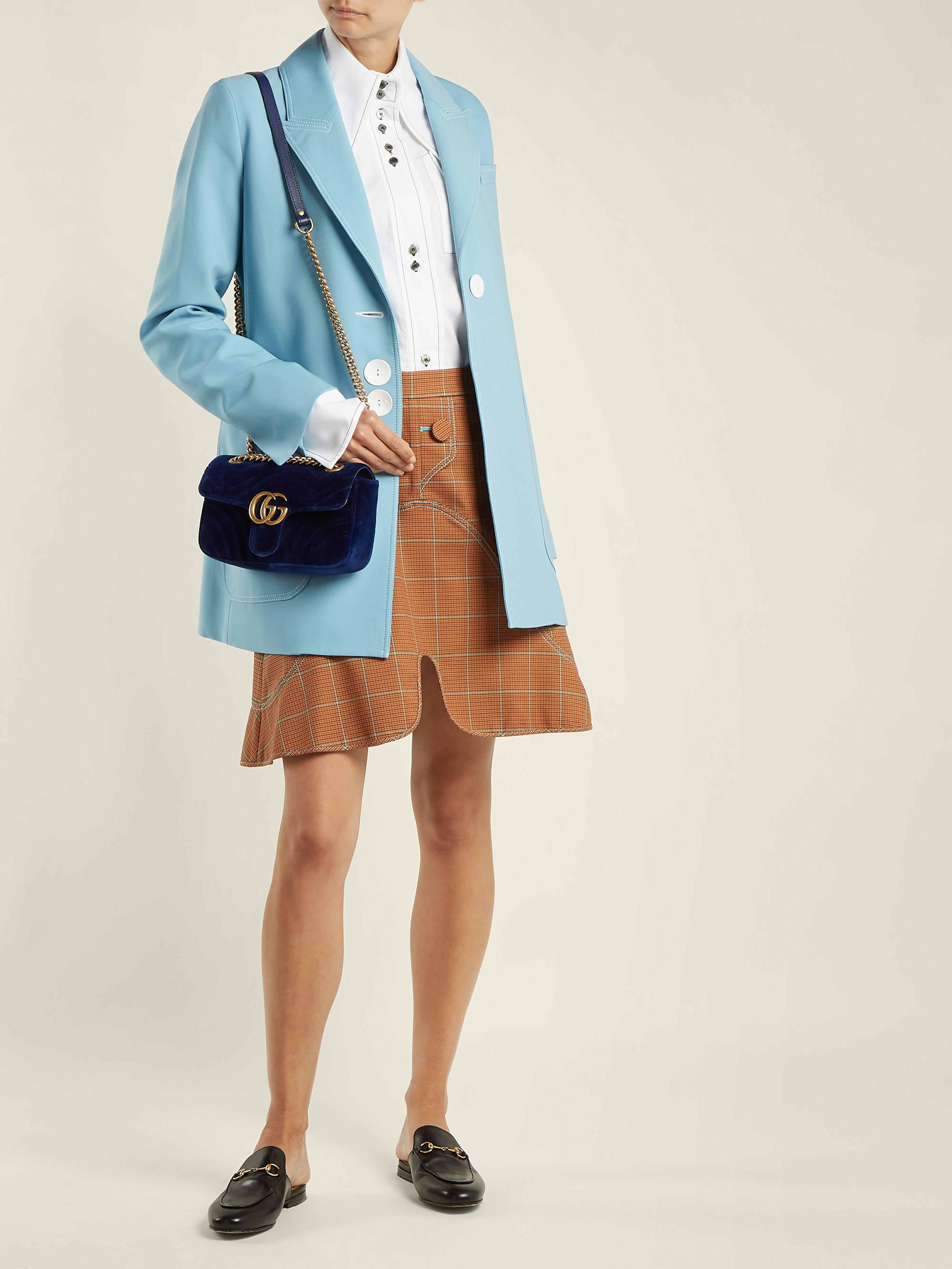dae9e2115de Gucci Gg Marmont Mini Quilted Velvet Cross Body Bag in Blue - Save 14% -  Lyst
