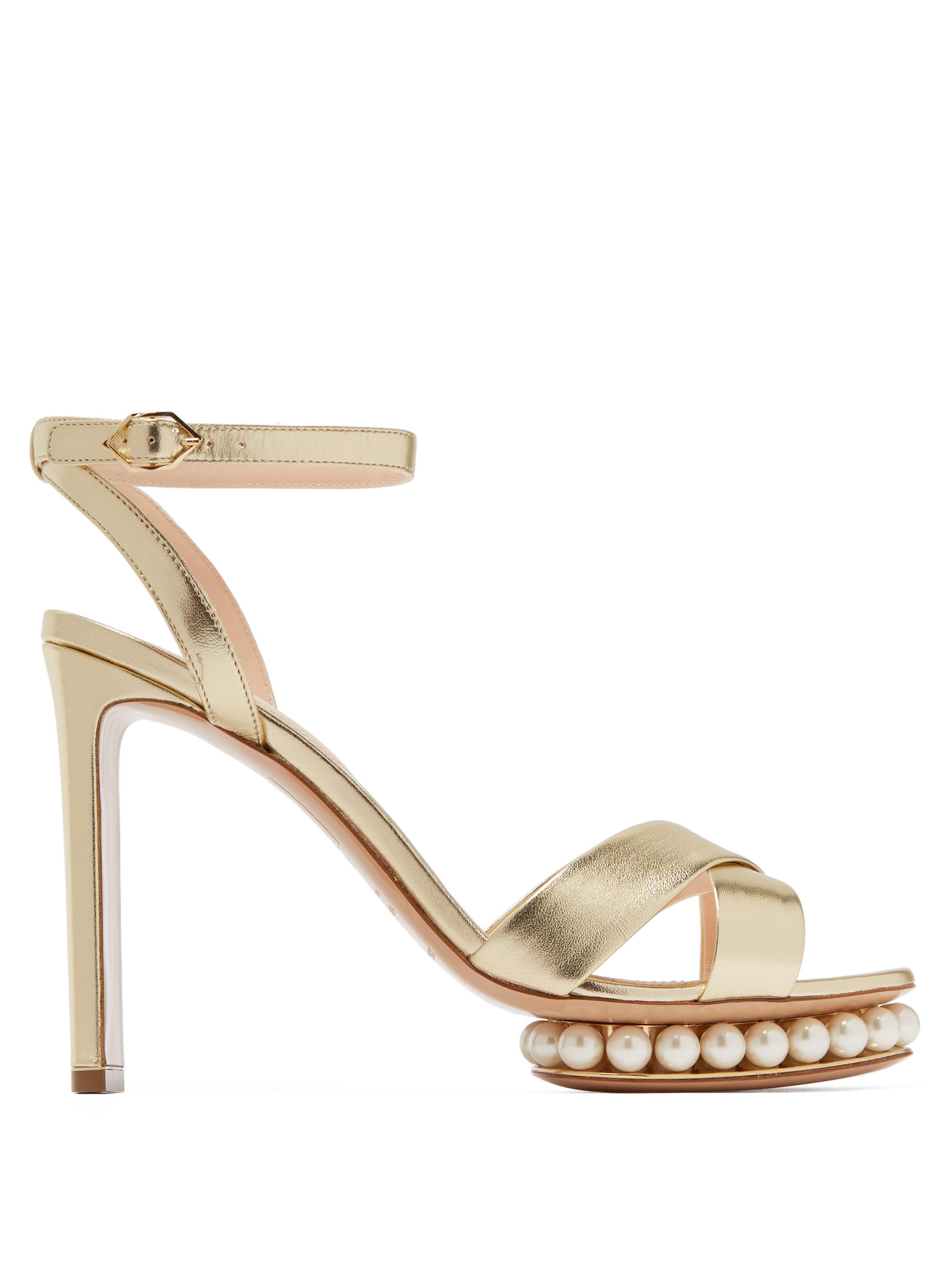 6fdb47d2731 Nicholas Kirkwood. Women s Metallic Casati Faux Pearl Embellished Leather  Sandals