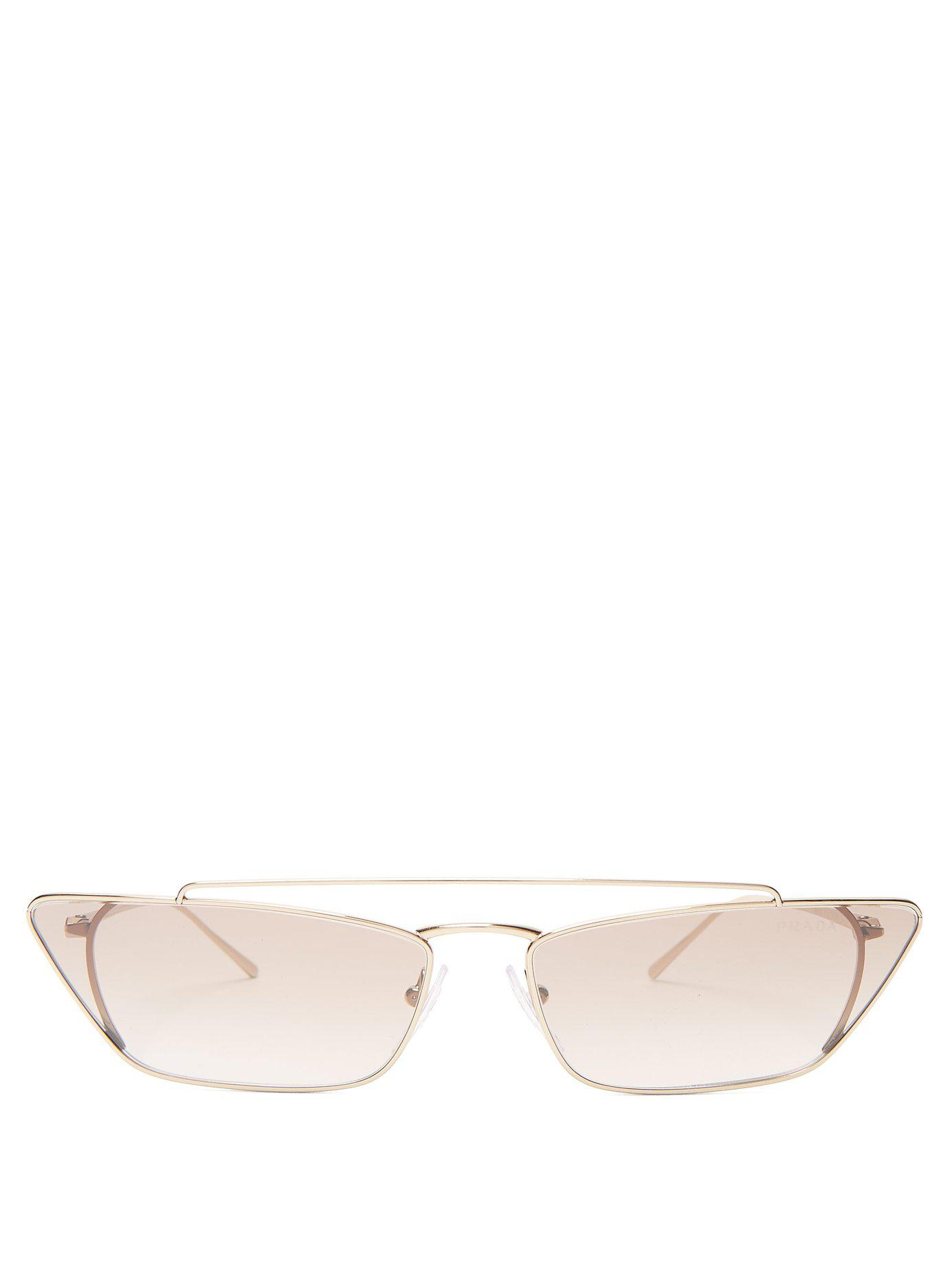 1ad5b23ebe84 Lyst - Prada Ultravox Rectangular Frame Metal Sunglasses in Pink