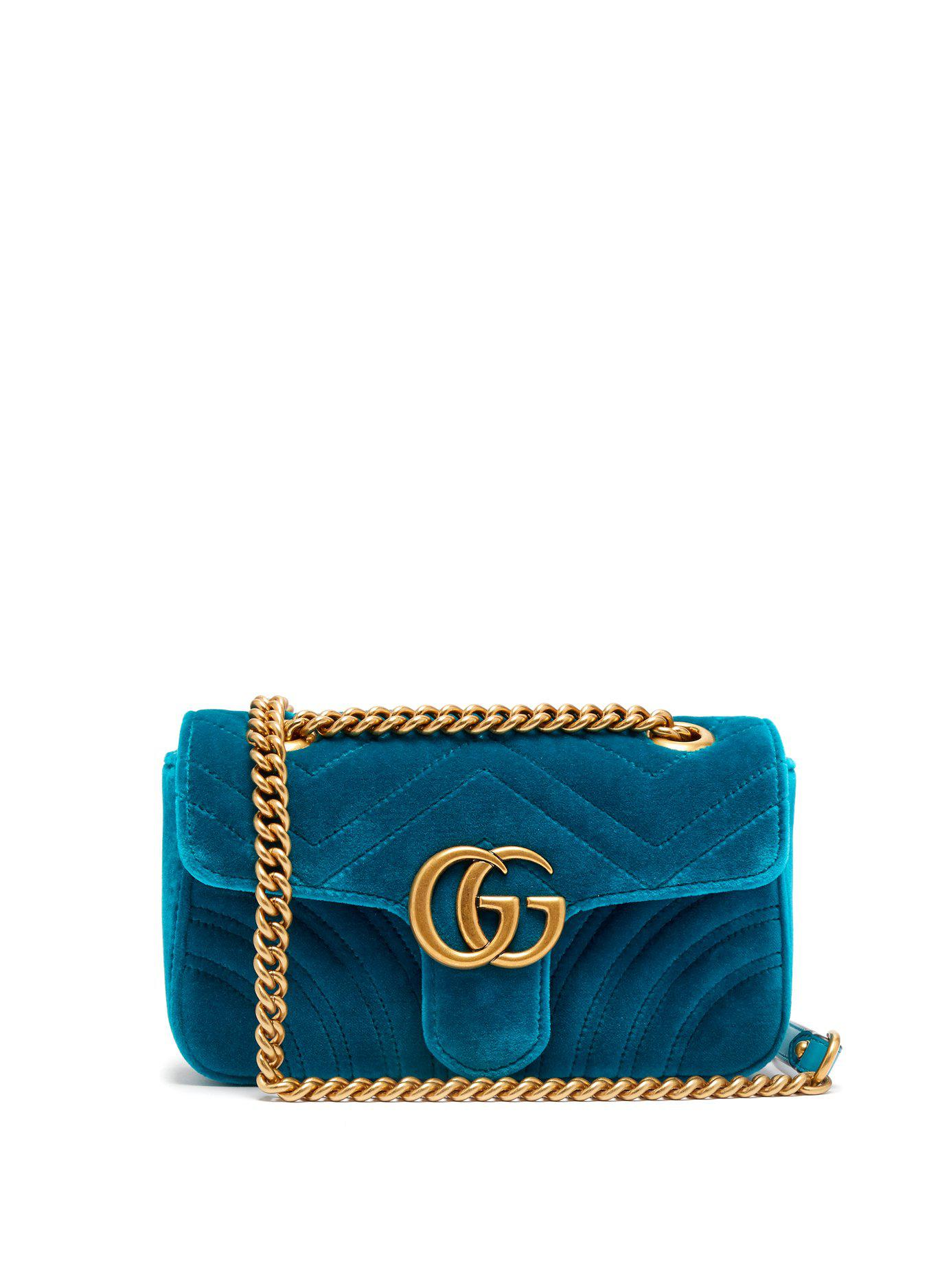 6fe7c389269a Lyst - Gucci Gg Marmont Mini Quilted Velvet Cross Body Bag in Green