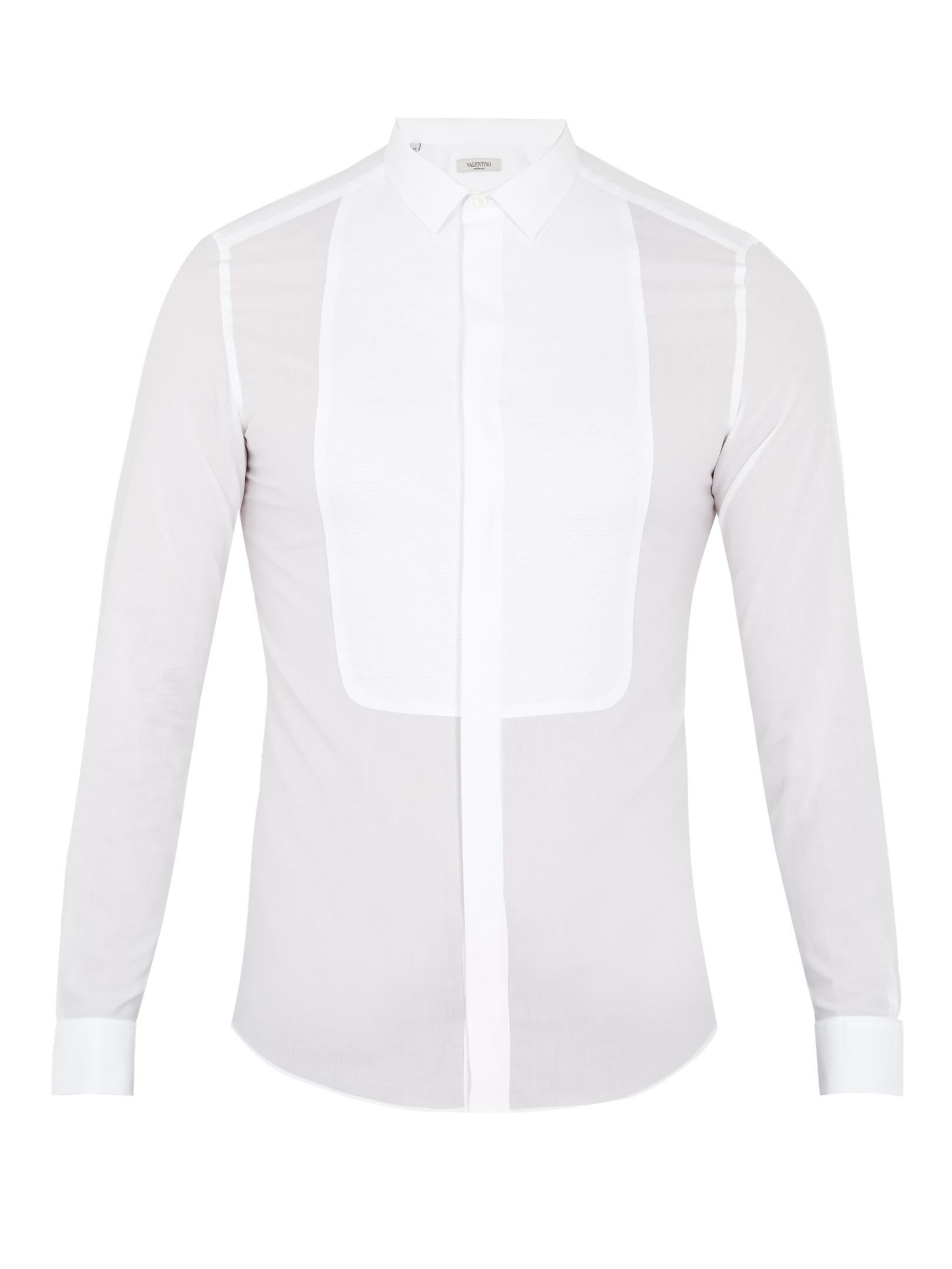 Valentino. Men's White Double-cuff Bib-front Cotton Shirt
