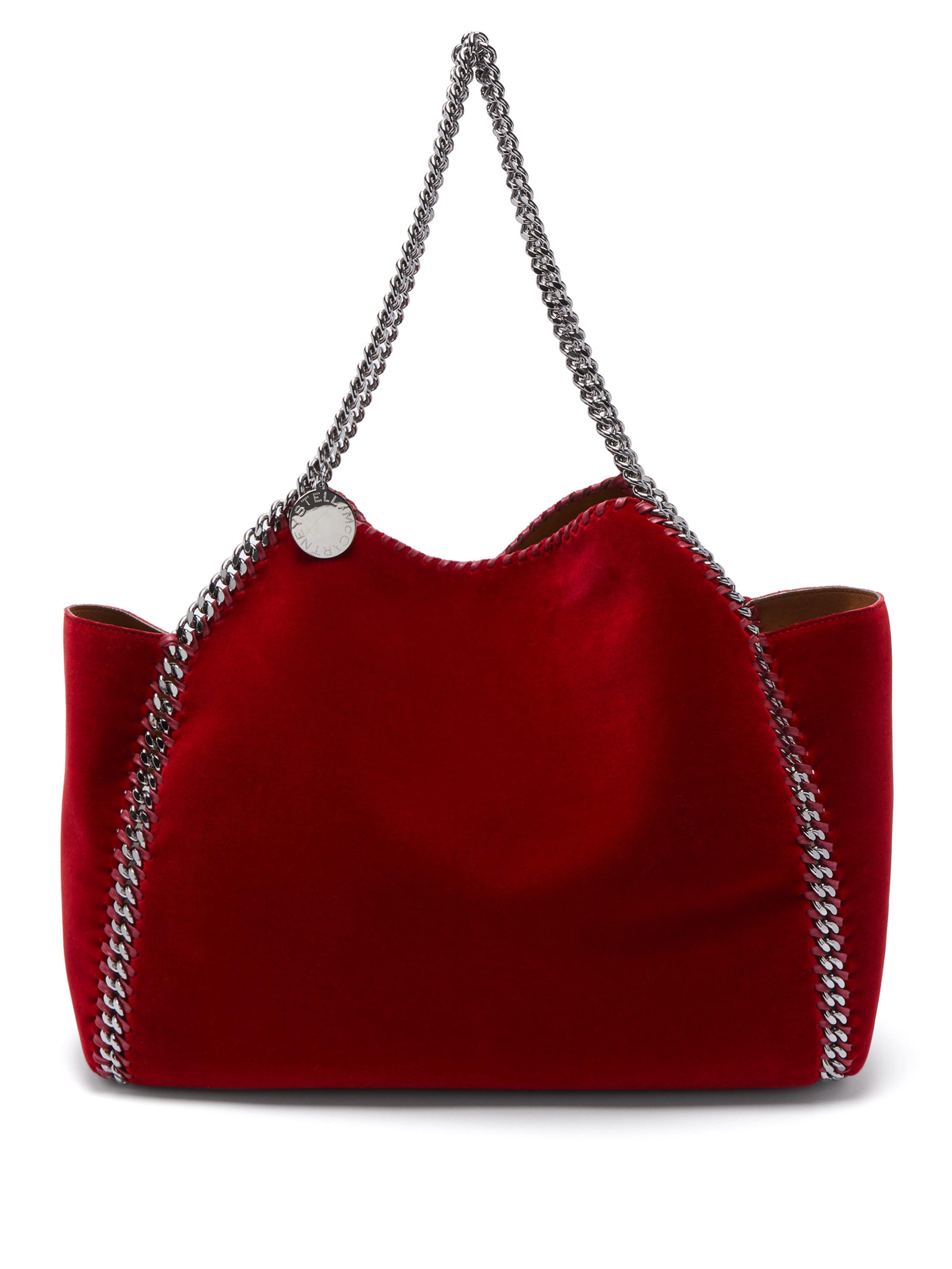 65aa918e5d Stella McCartney Falabella Small Reversible Velvet Tote Bag in Red ...