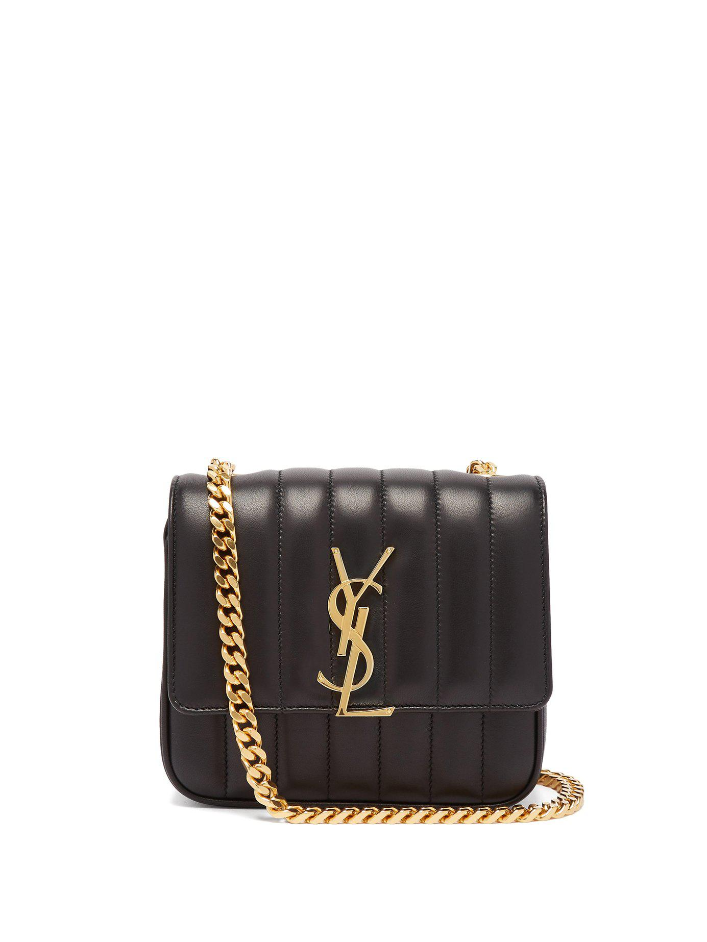 Lyst - Saint Laurent Vicky Small Leather Bag in Black 9b8c155515330