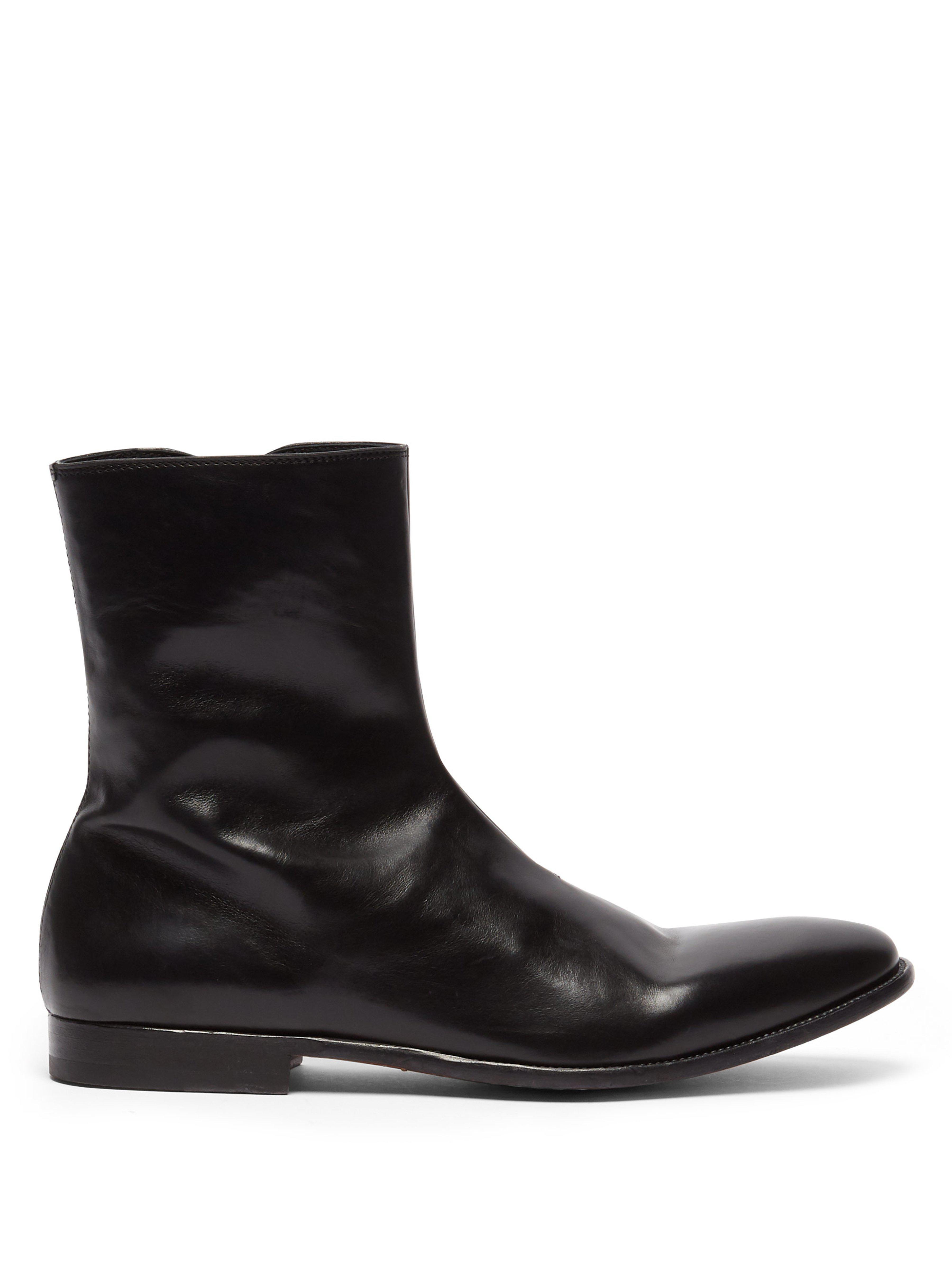 af58977bec1a6 Alexander Mcqueen Washed Leather Ankle Boots in Black for Men - Lyst